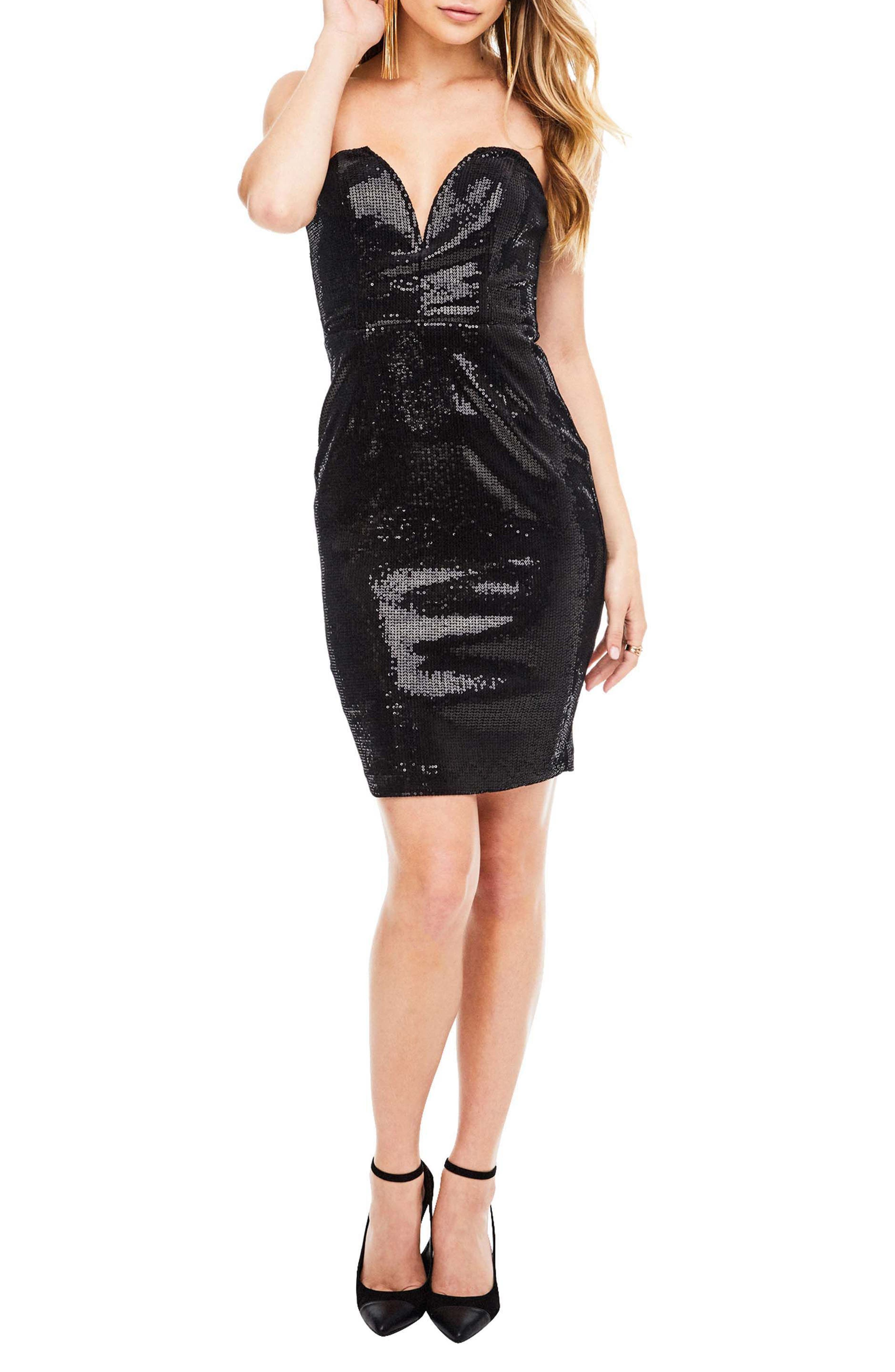 Rizzo Sequin Strapless Dress,                             Main thumbnail 1, color,                             001