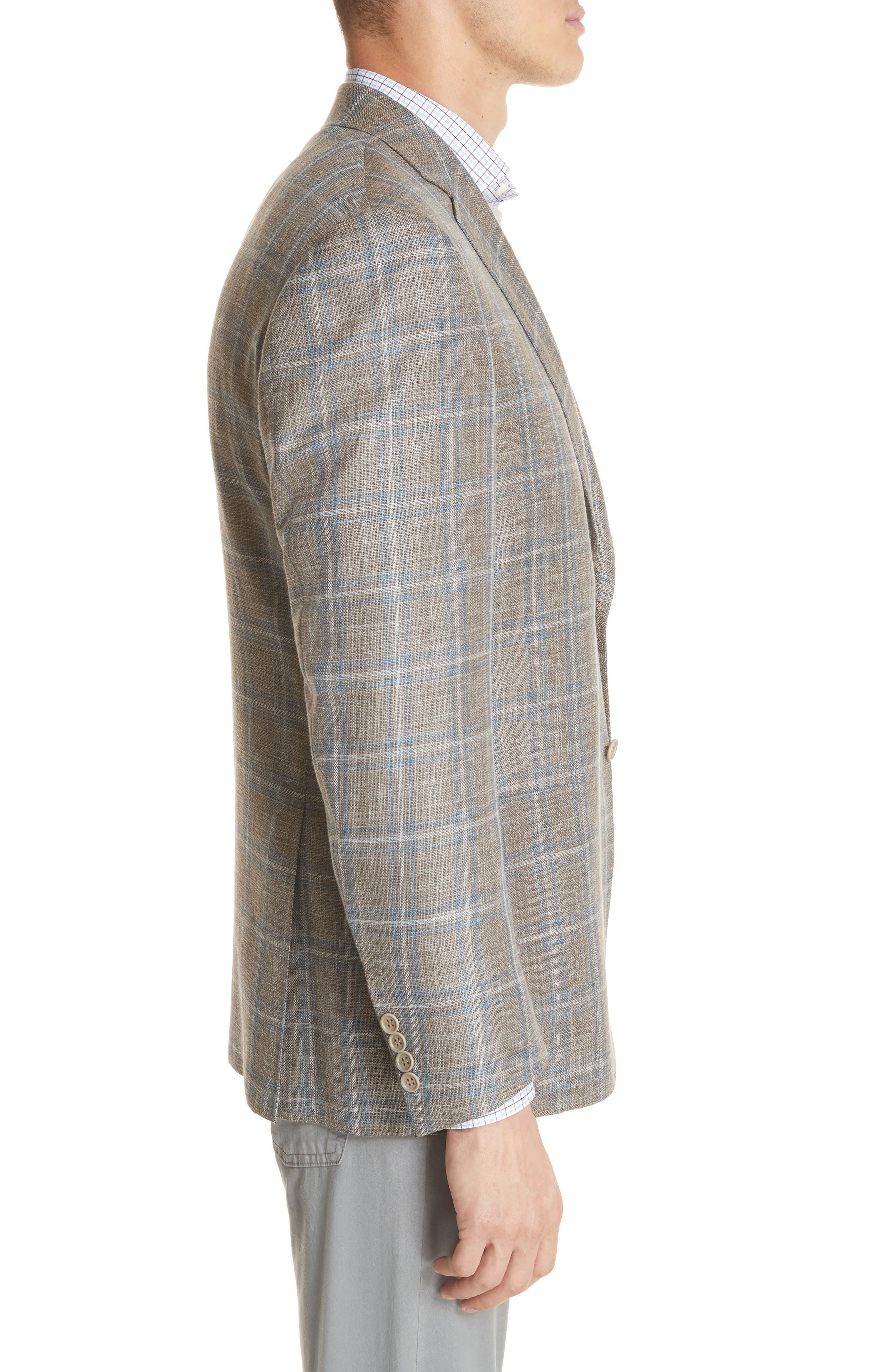 CANALI,                             Kei Classic Fit Windowpane Wool Blend Sport Coat,                             Alternate thumbnail 3, color,                             250