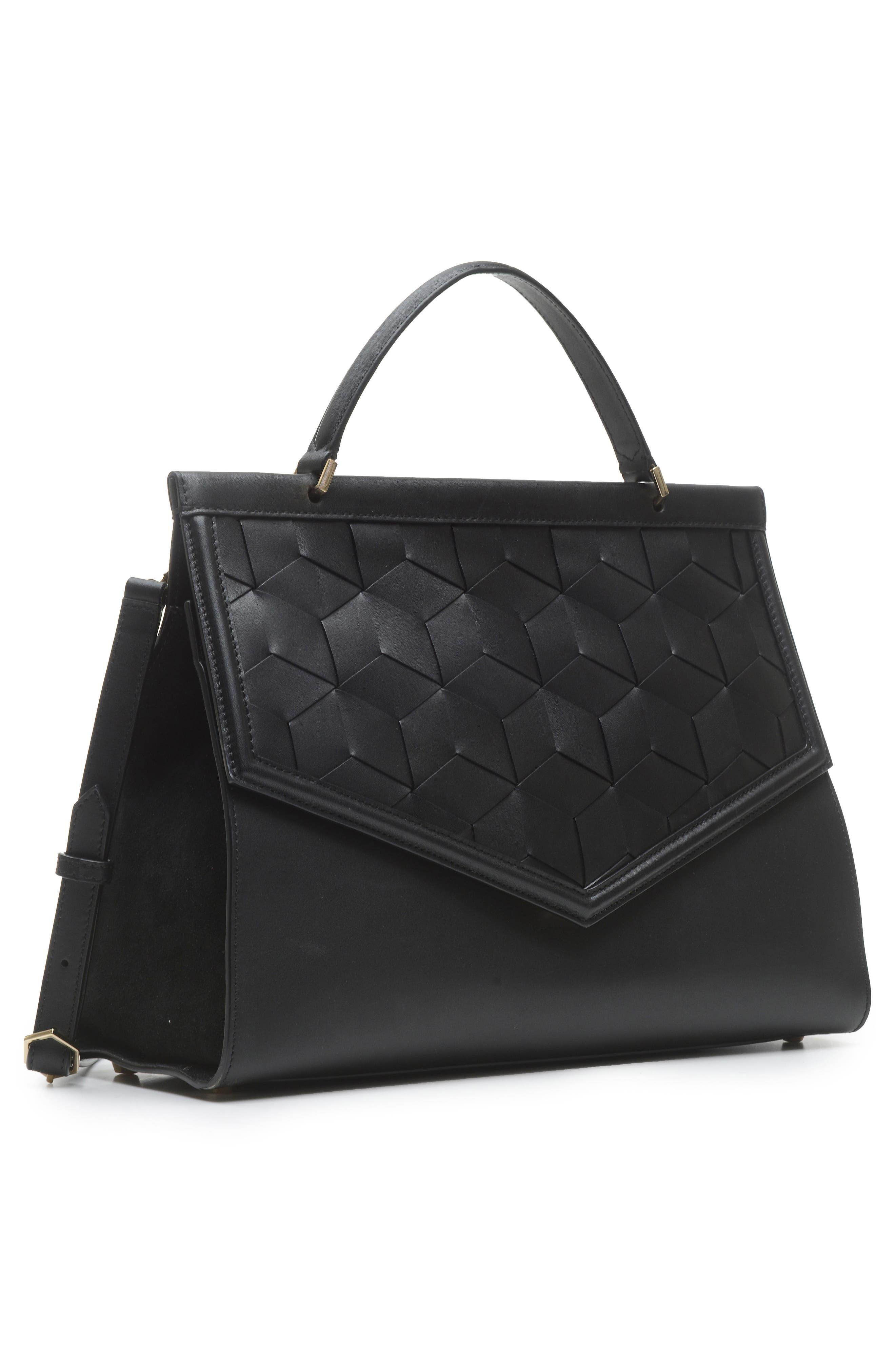 Wayfare Calfskin Leather Top Handle Satchel,                             Alternate thumbnail 4, color,                             BLACK