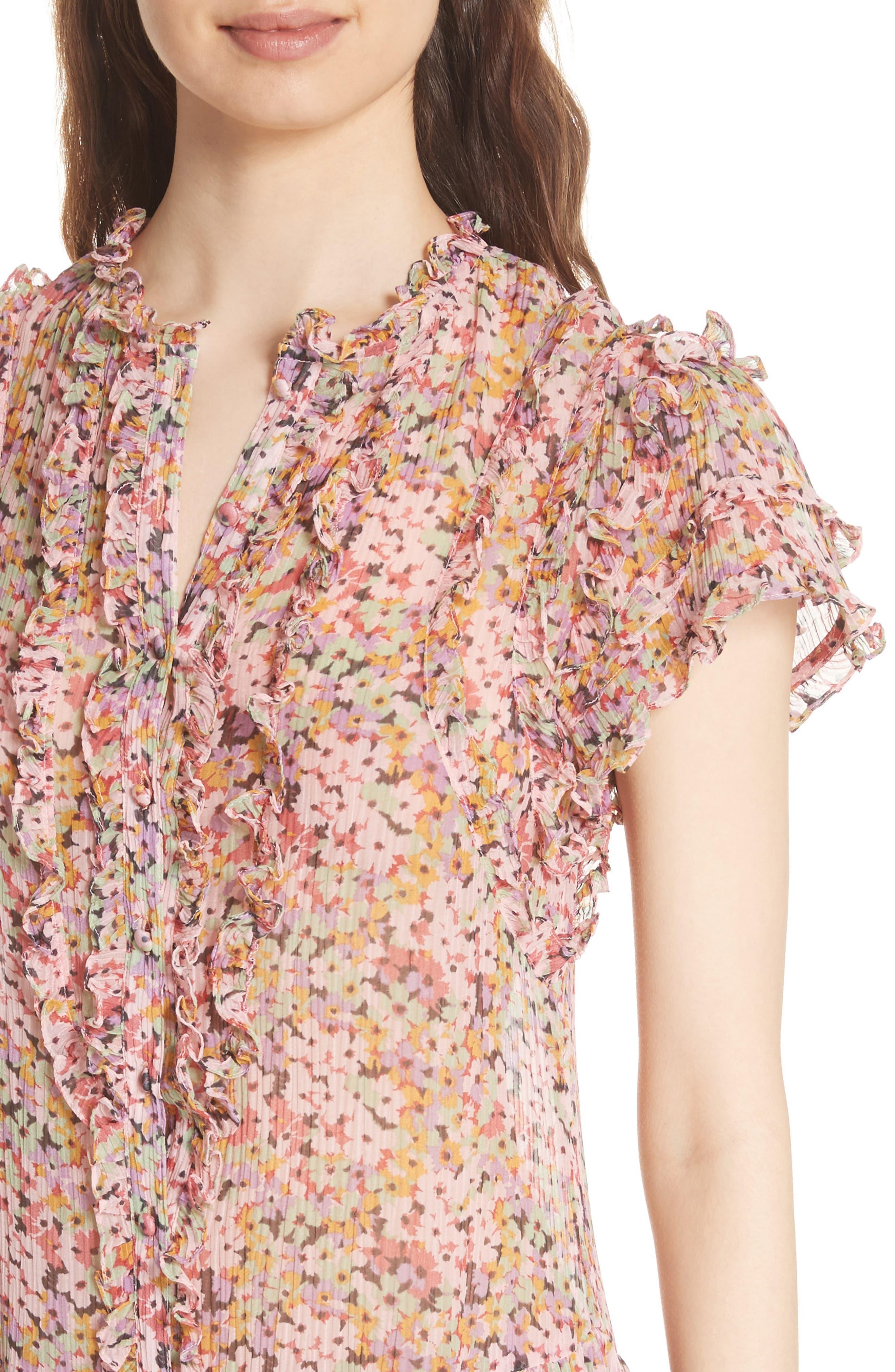 Margo Ruffled Floral Drop Waist Dress,                             Alternate thumbnail 4, color,                             686