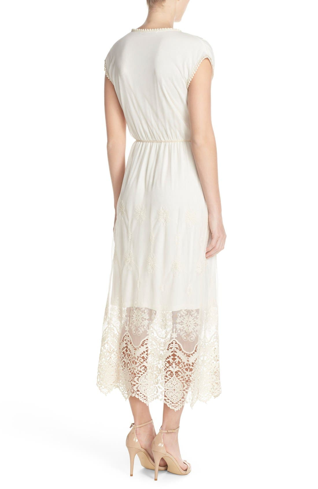 Embroidered Mesh & Cotton Midi Dress,                             Alternate thumbnail 4, color,                             901