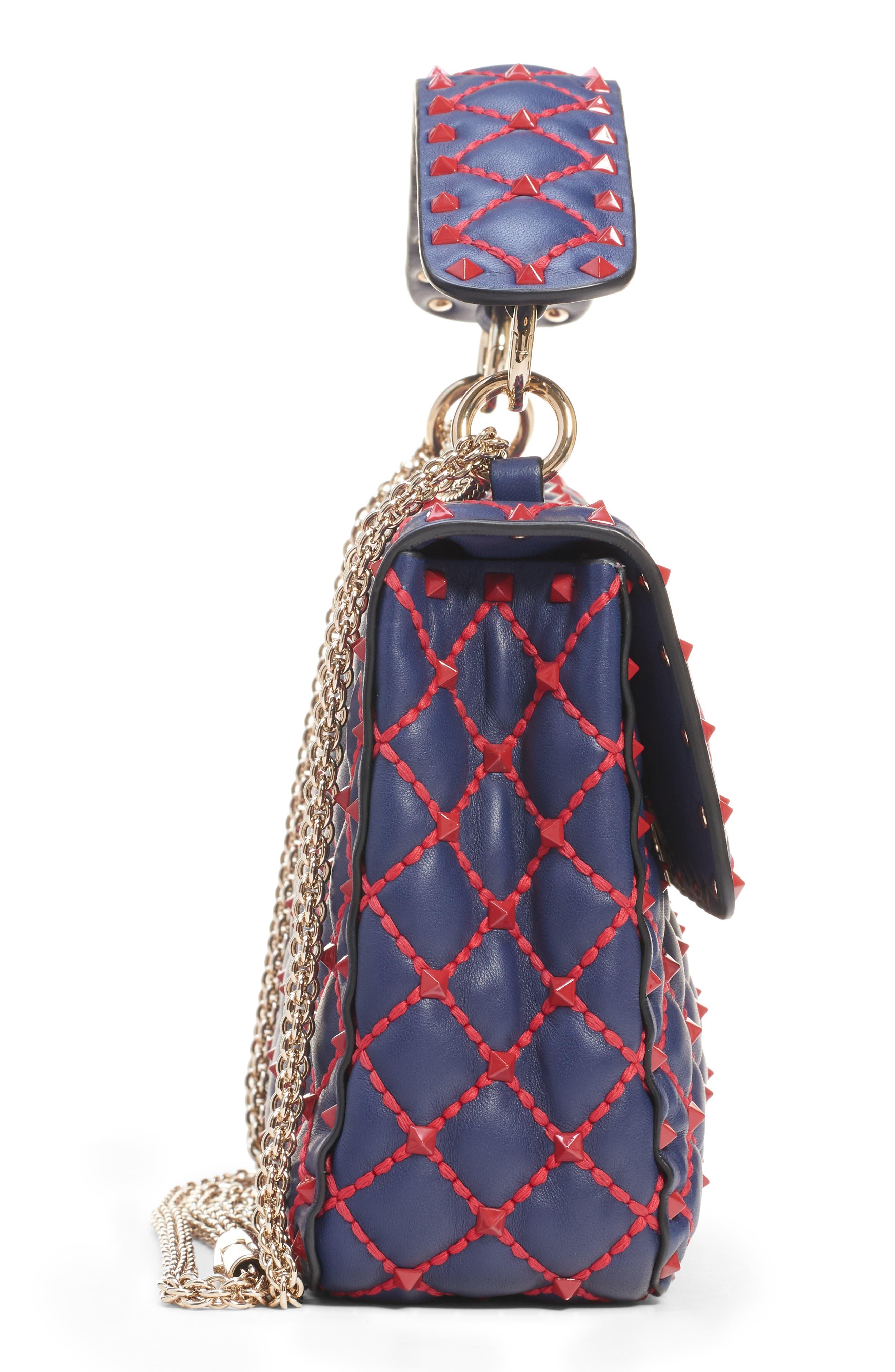 Medium Spike.It Leather Shoulder Bag,                             Alternate thumbnail 4, color,                             PURE BLUE/ ROSSO