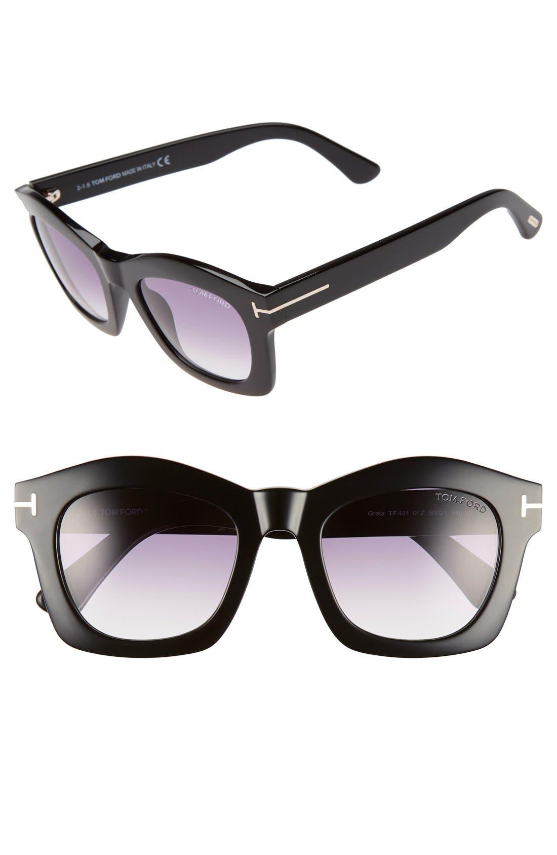 'Greta' 50mm Sunglasses,                             Main thumbnail 1, color,                             001