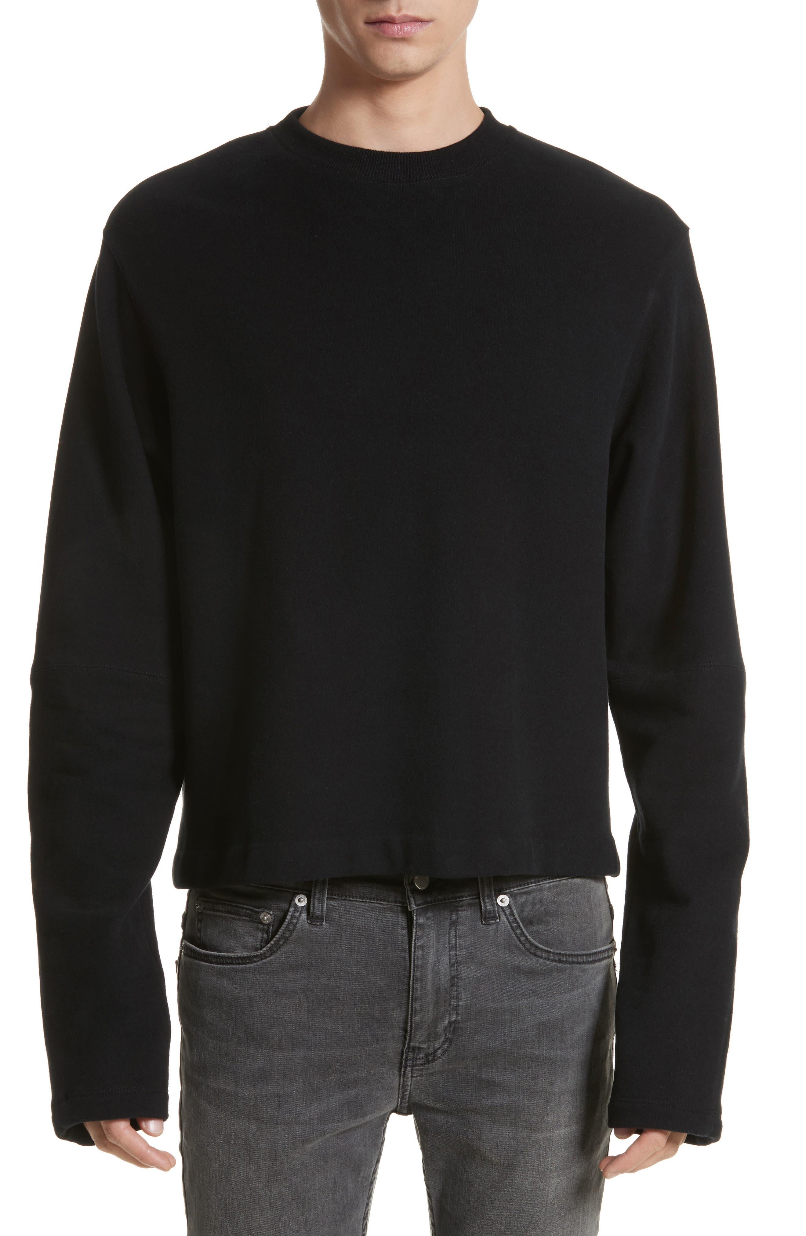 Rib Detail Crewneck Sweater,                             Main thumbnail 1, color,                             001