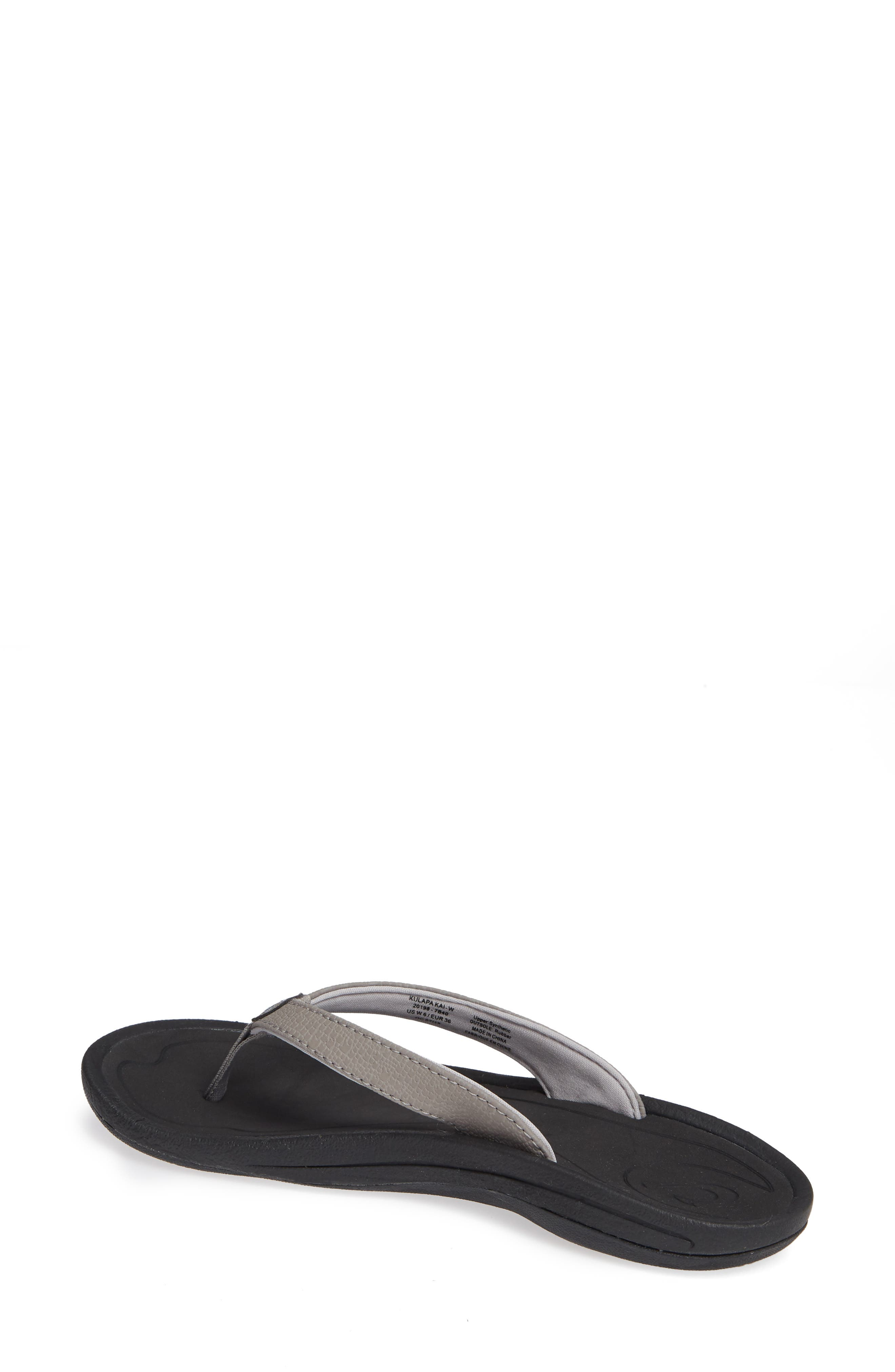 'Kulapa Kai' Thong Sandal,                             Alternate thumbnail 2, color,                             FOG/ BLACK FABRIC