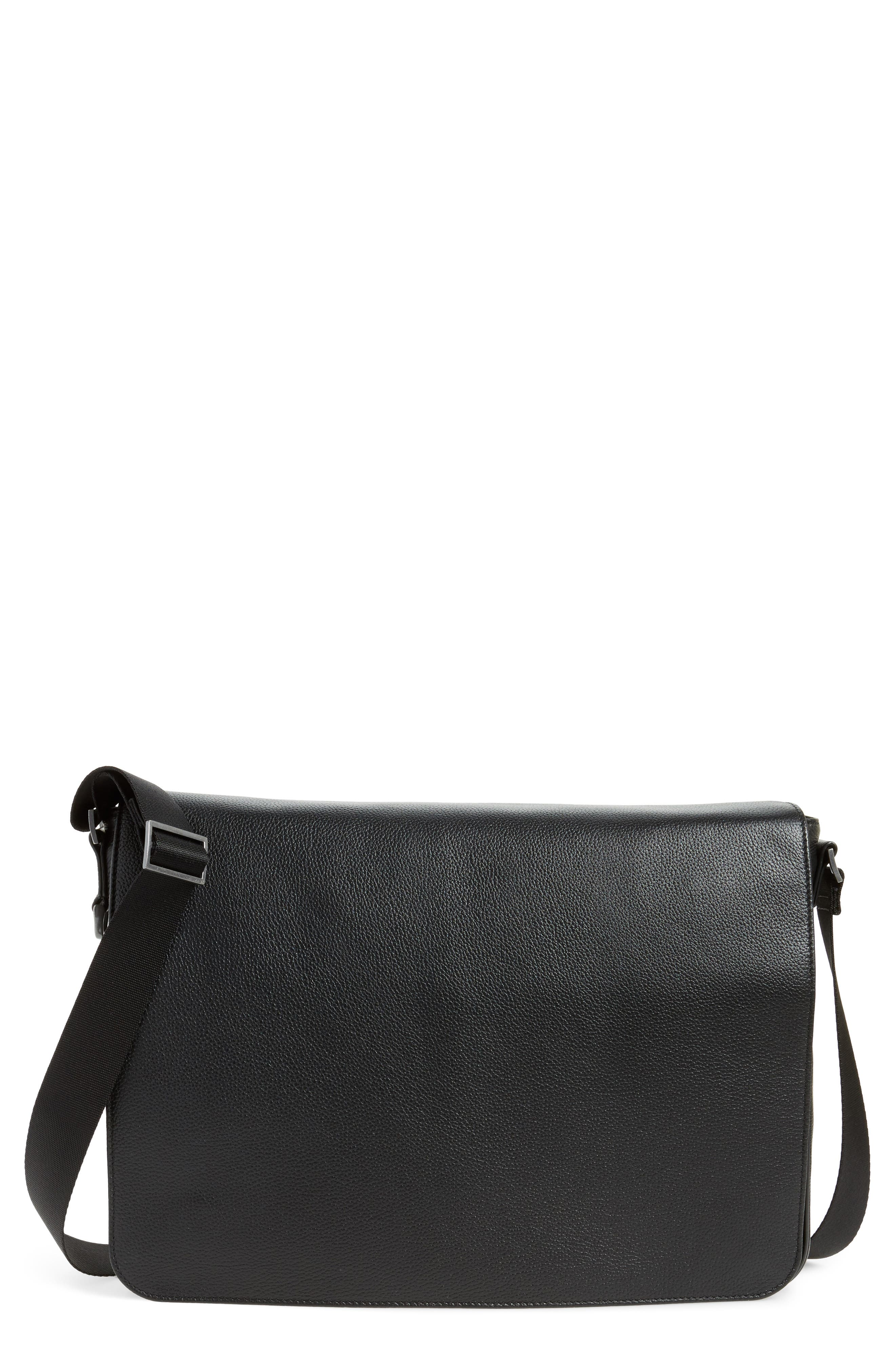 Midland Leather Messenger Bag,                             Main thumbnail 1, color,                             001
