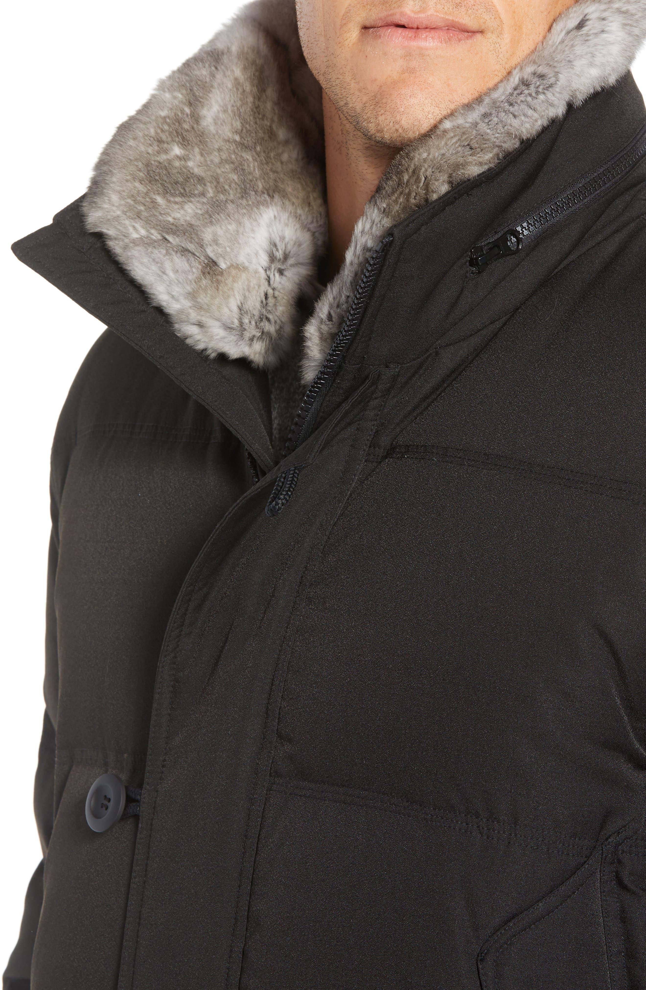 Bryant Genuine Rabbit Fur Trim Down Jacket,                             Alternate thumbnail 5, color,                             BLACK