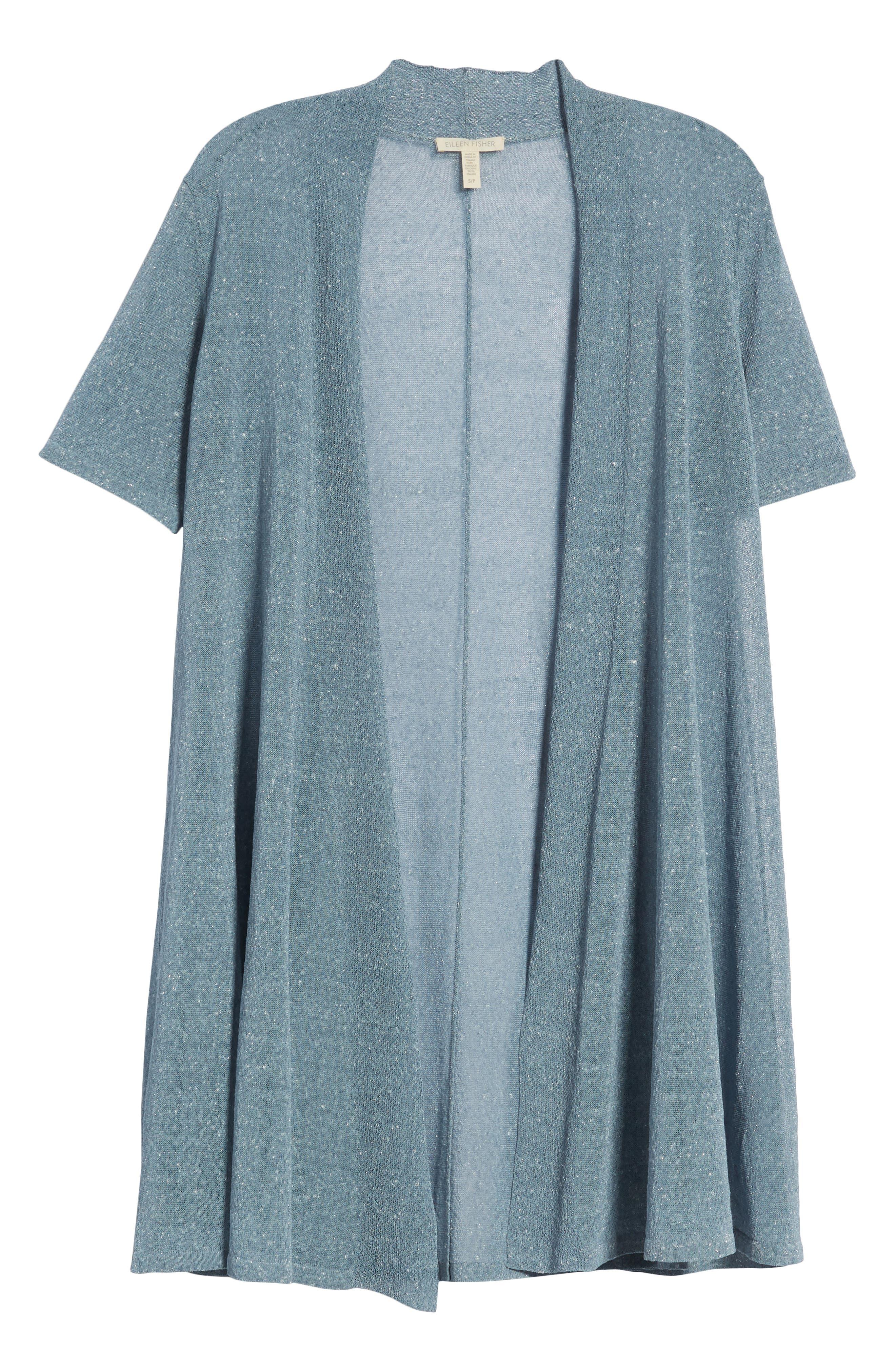 Long Organic Linen Blend Cardigan,                             Alternate thumbnail 7, color,                             454