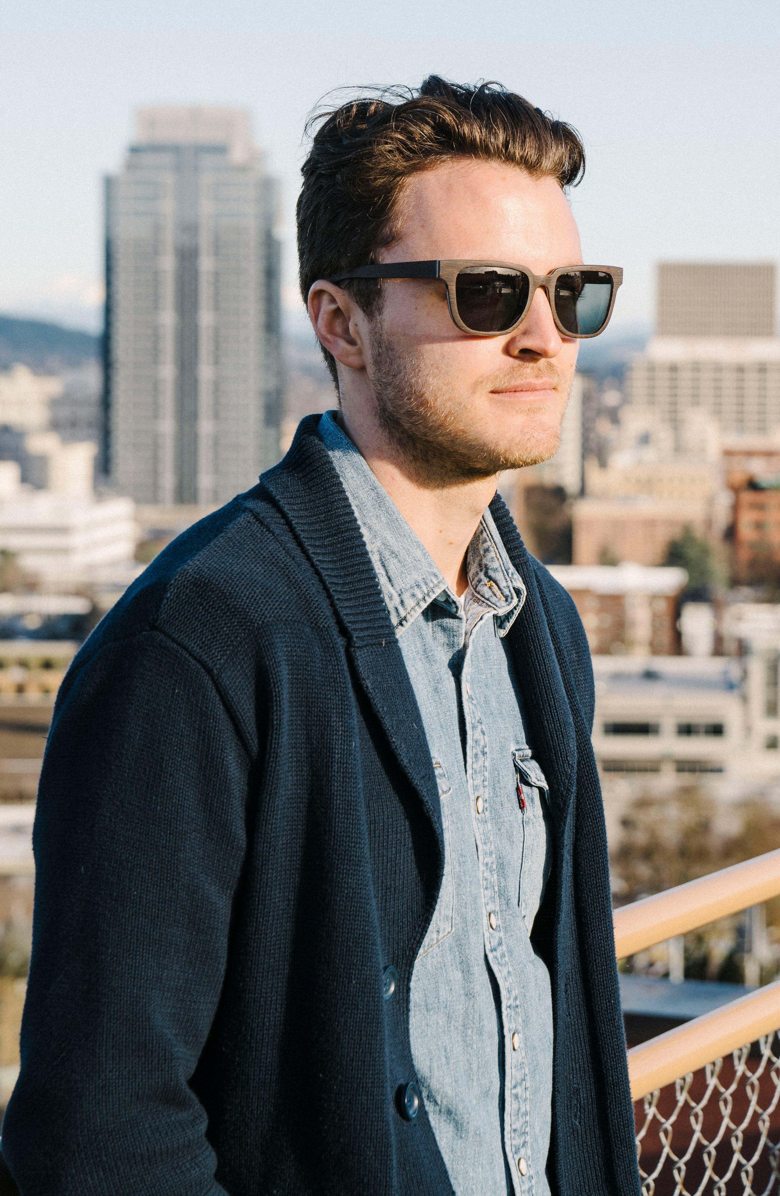 'Prescott' 53mm Wood Sunglasses,                             Alternate thumbnail 3, color,                             WALNUT/ GREY
