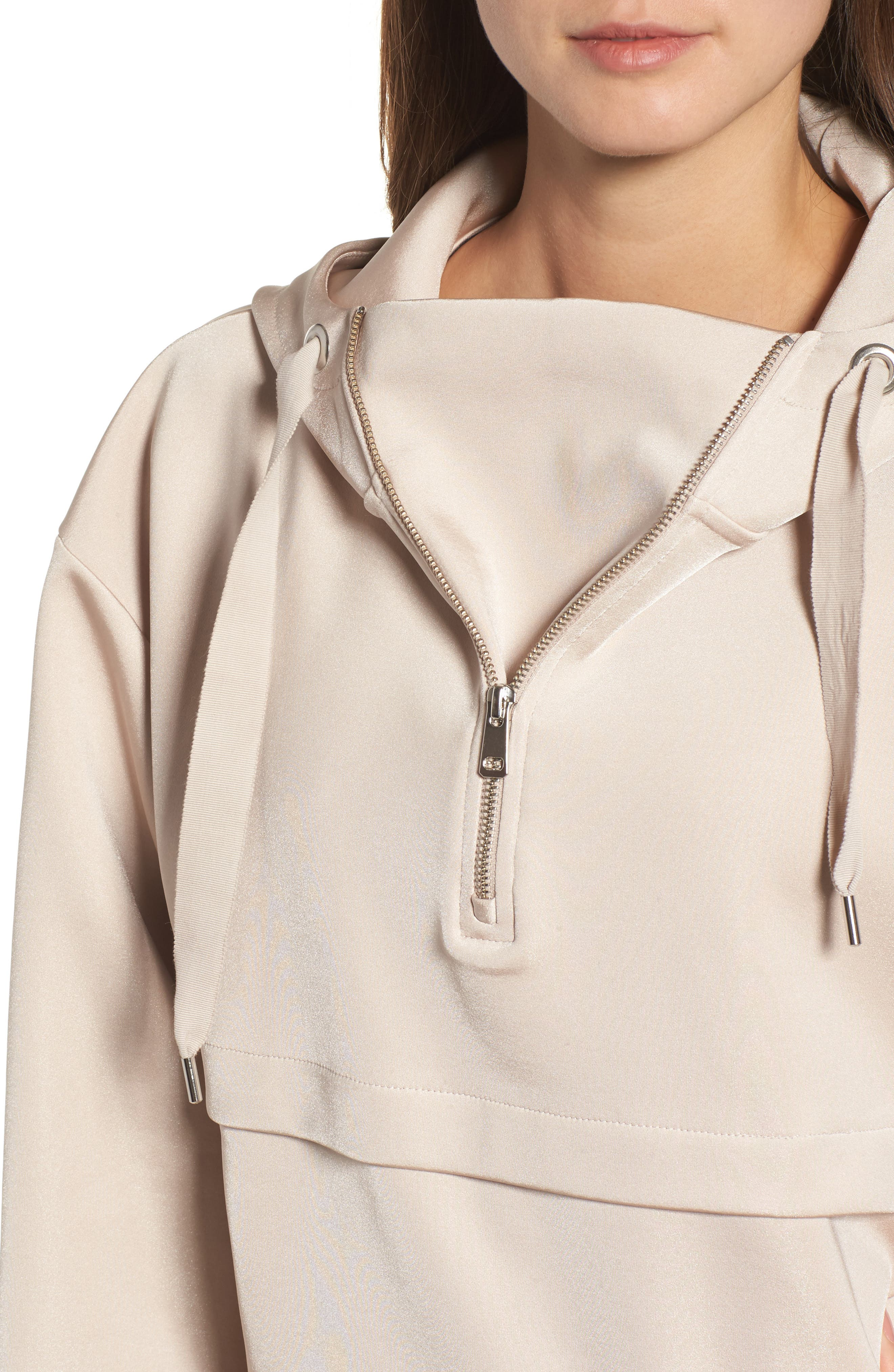 Satin Crop Hoodie,                             Alternate thumbnail 4, color,