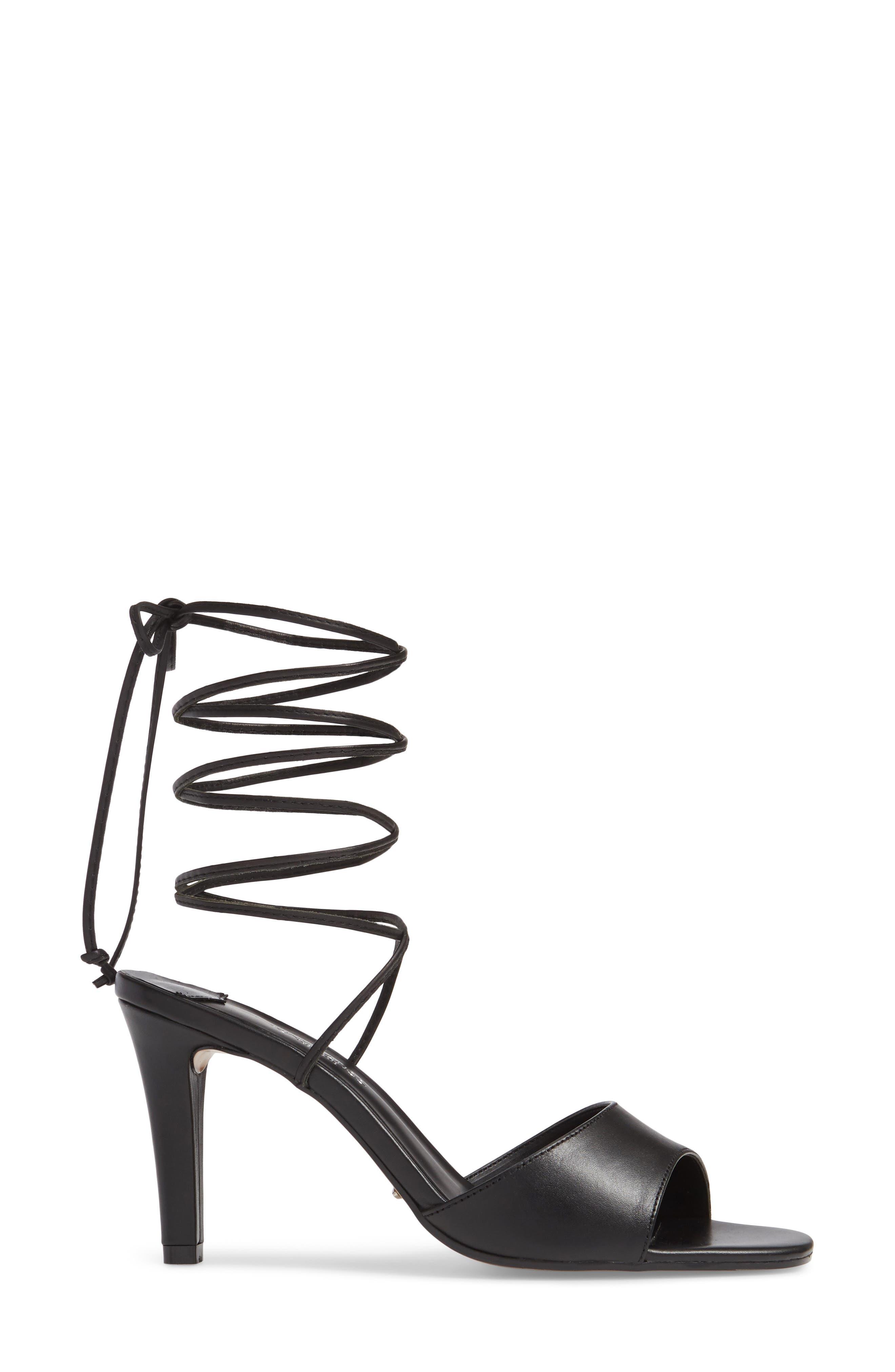 Ruffian Wraparound Sandal,                             Alternate thumbnail 3, color,                             BLACK COMO