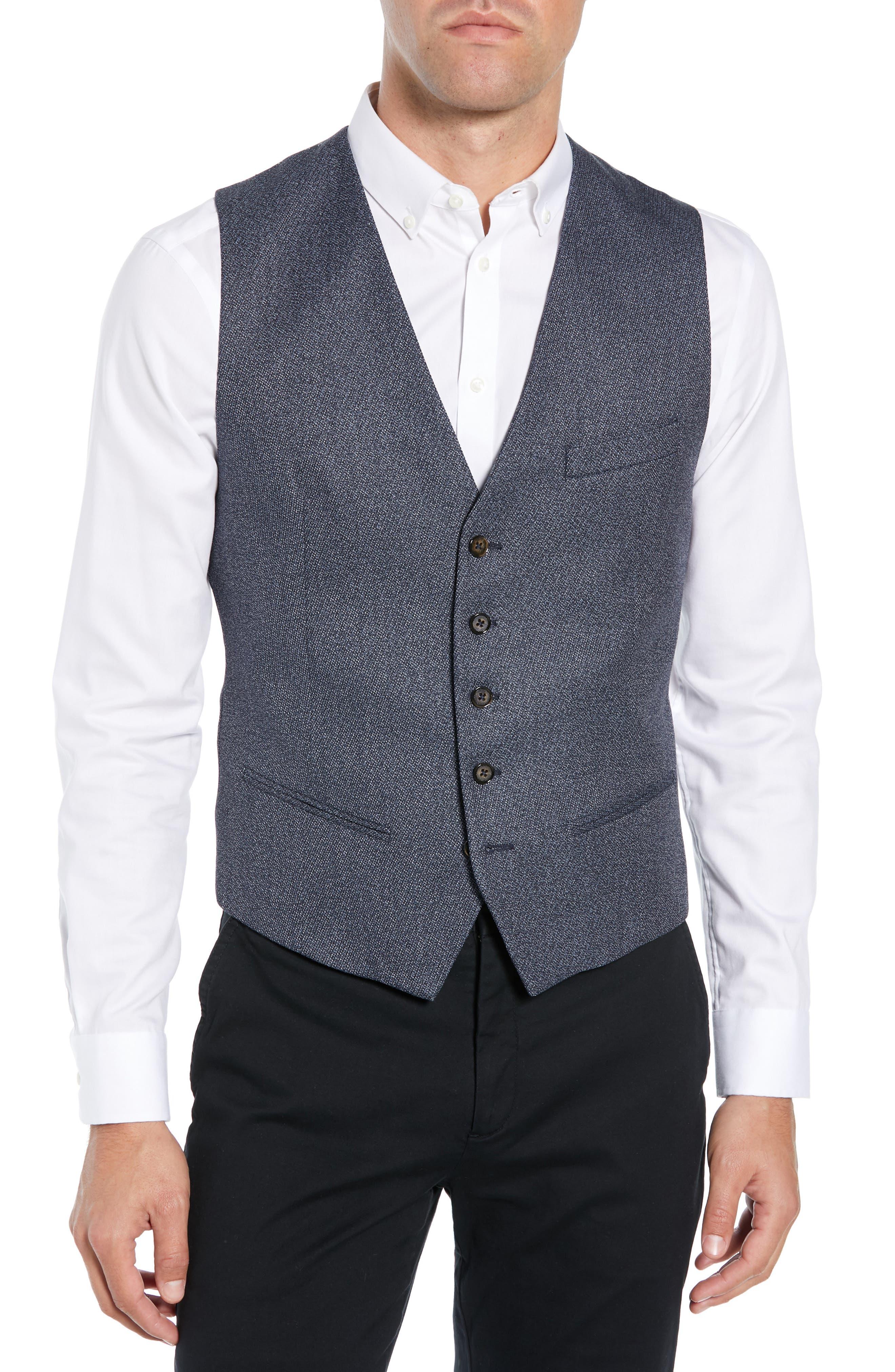 Slim Fit Bufwai Twill Vest,                             Main thumbnail 1, color,                             BLUE