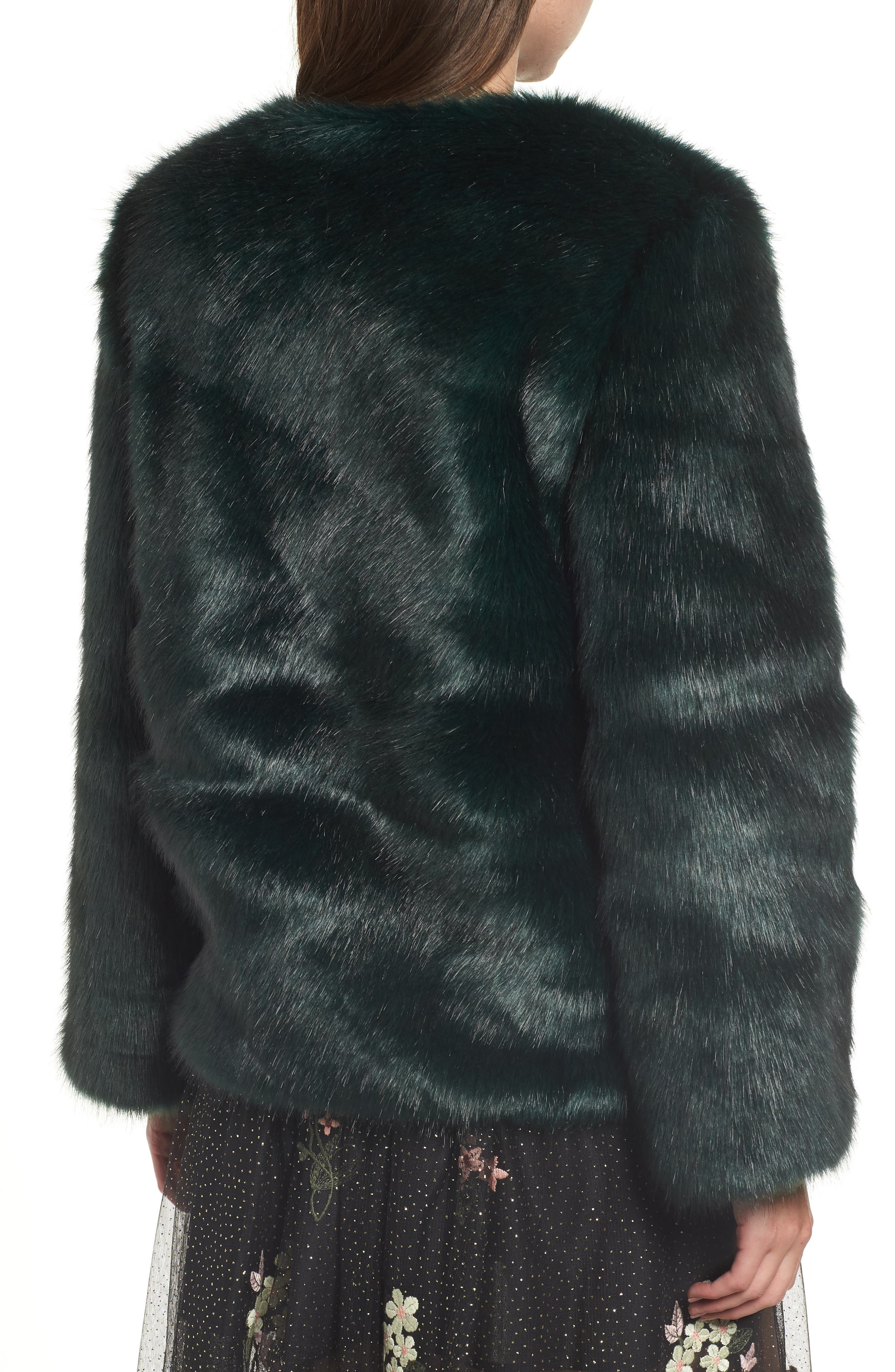 Faux Fur Jacket,                             Alternate thumbnail 2, color,                             GREEN