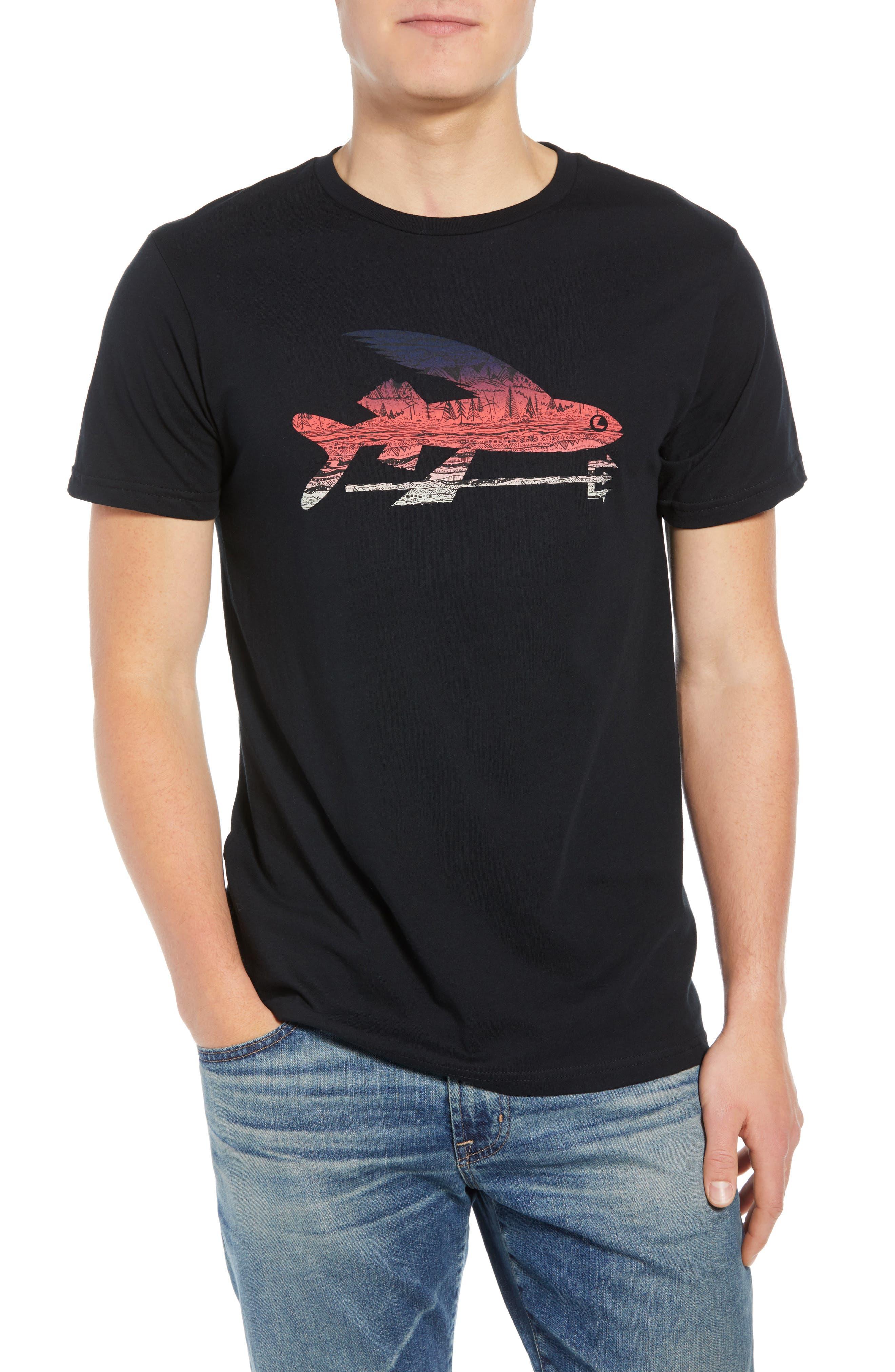 Flying Fish Organic Cotton T-Shirt,                             Main thumbnail 1, color,                             BLACK/ ALBANIAN LANDSCAPE