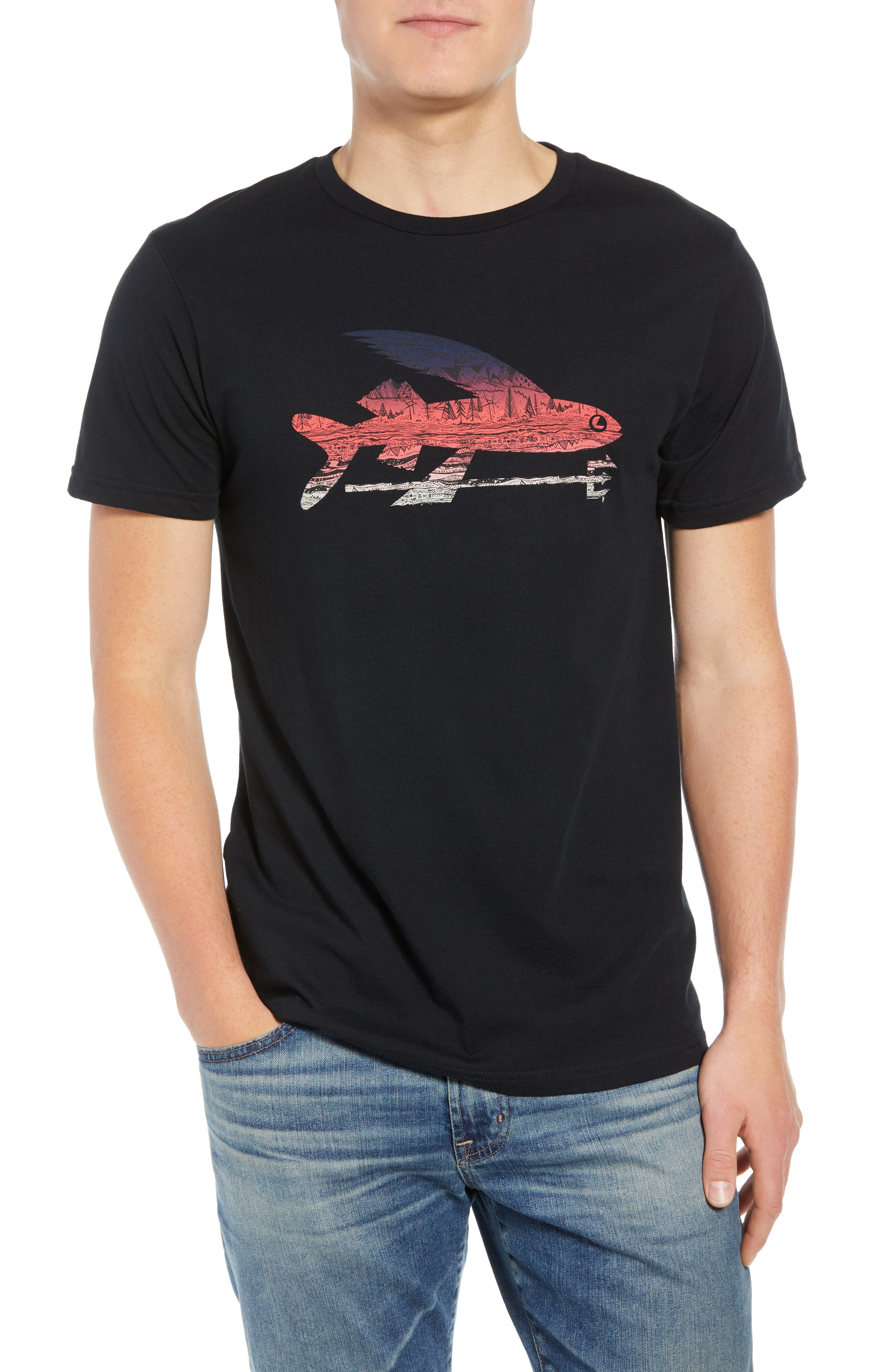 Flying Fish Organic Cotton T-Shirt,                         Main,                         color, BLACK/ ALBANIAN LANDSCAPE