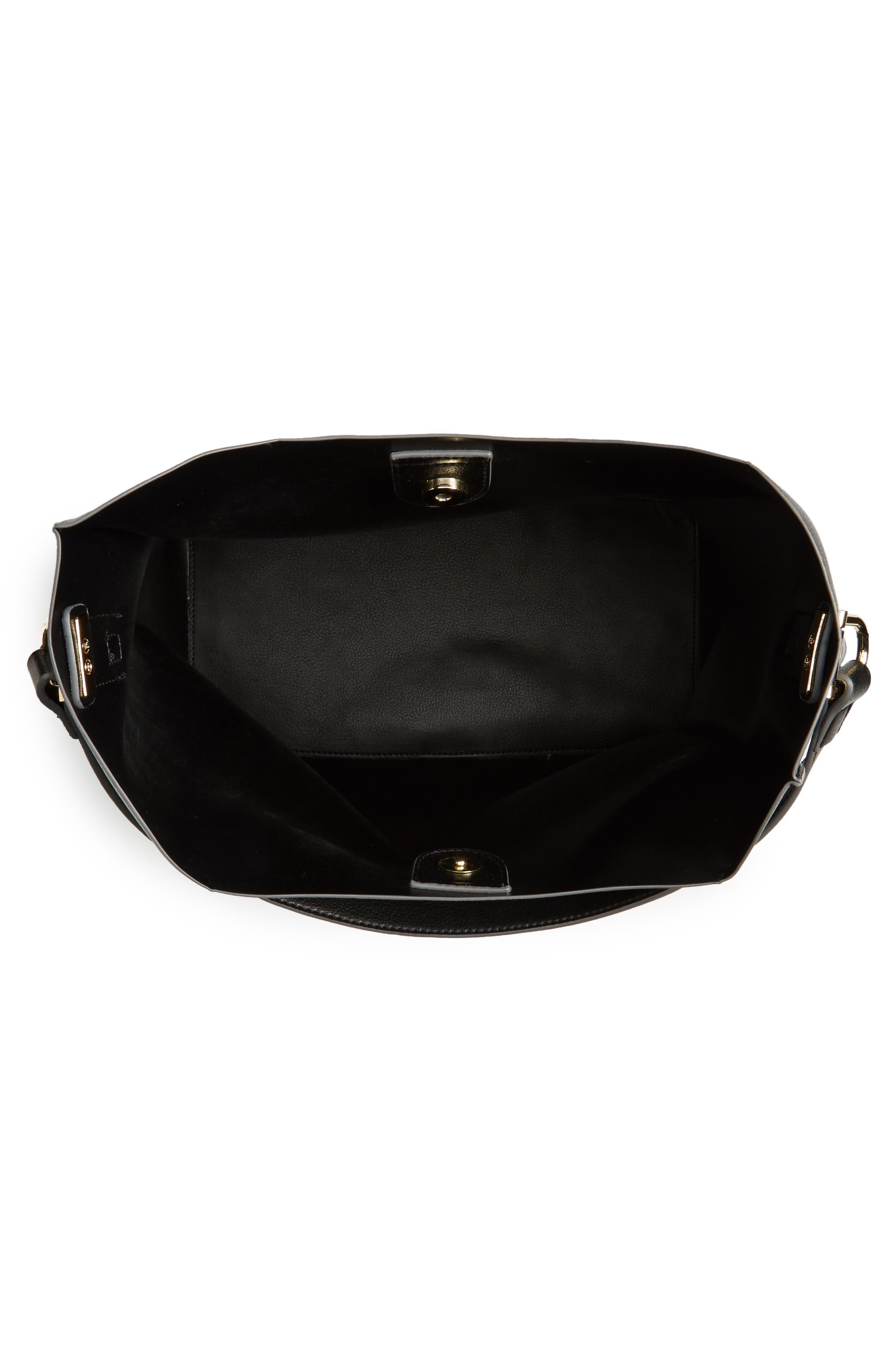 Prima Faux Leather Bucket Bag & Zip Pouch,                             Alternate thumbnail 4, color,                             001