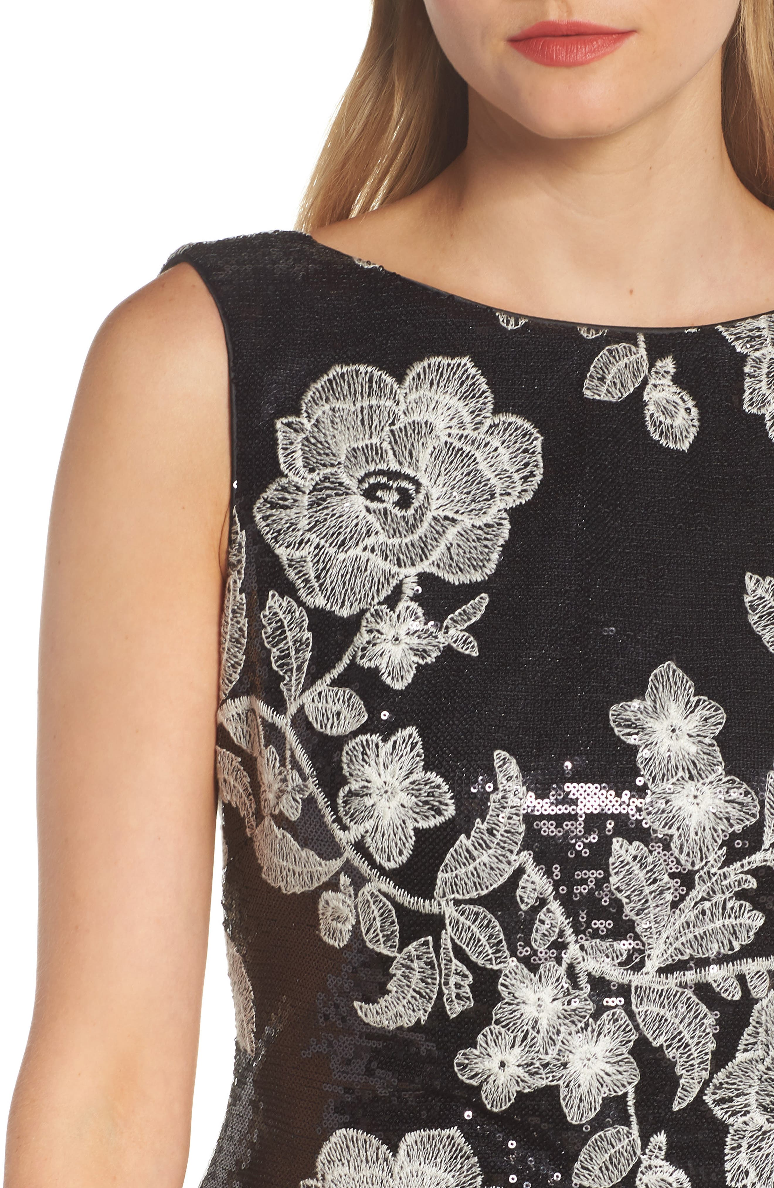 Embroidered Gown,                             Alternate thumbnail 4, color,                             BLACK