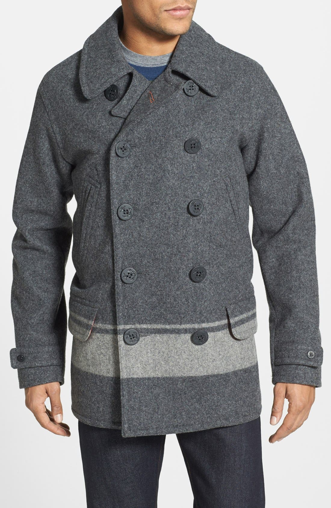 WOOLRICH 'Dockworker' Double Breasted Peacoat, Main, color, 034