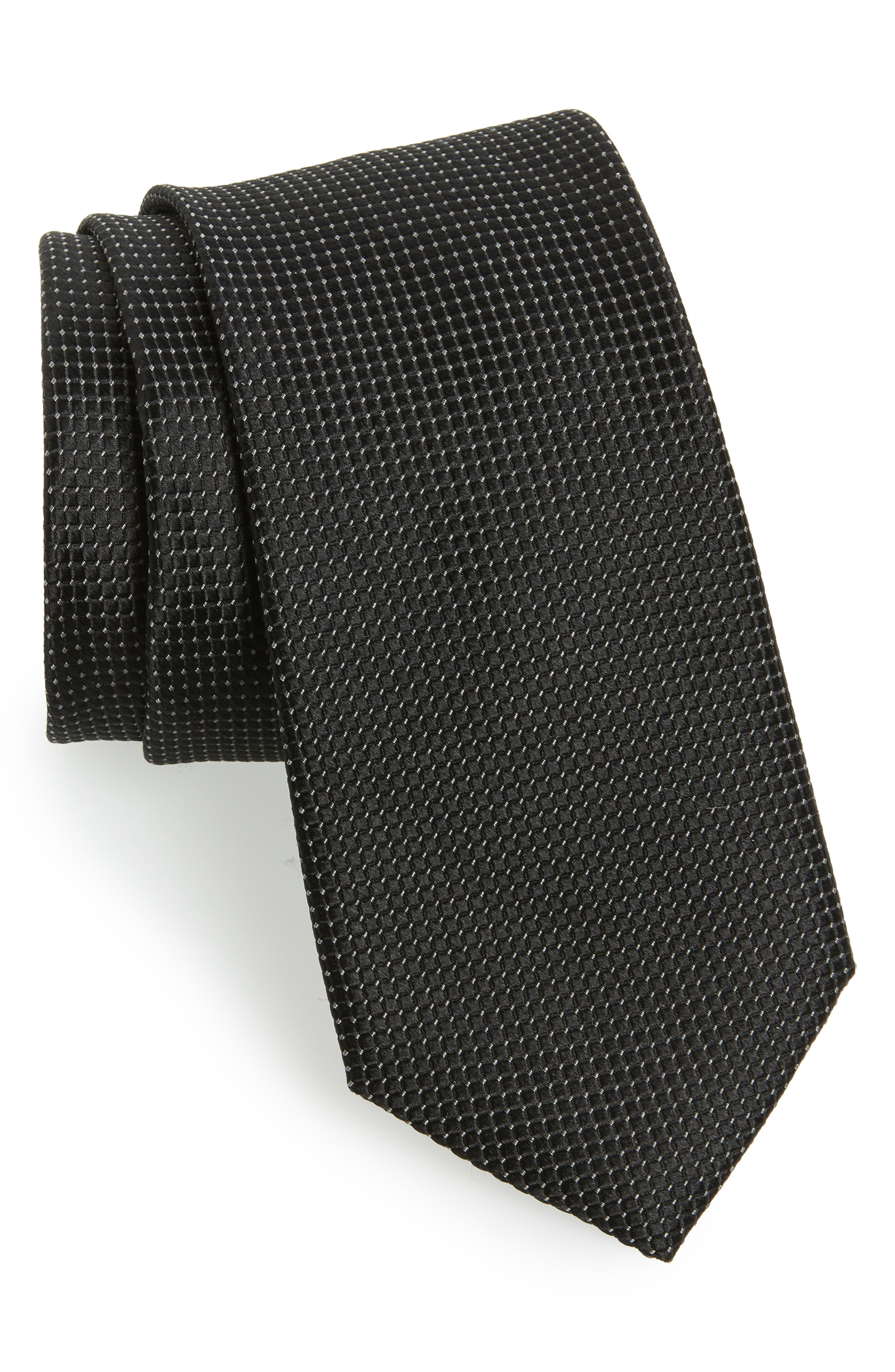 TED BAKER LONDON,                             Solid Silk Tie,                             Main thumbnail 1, color,                             BLACK