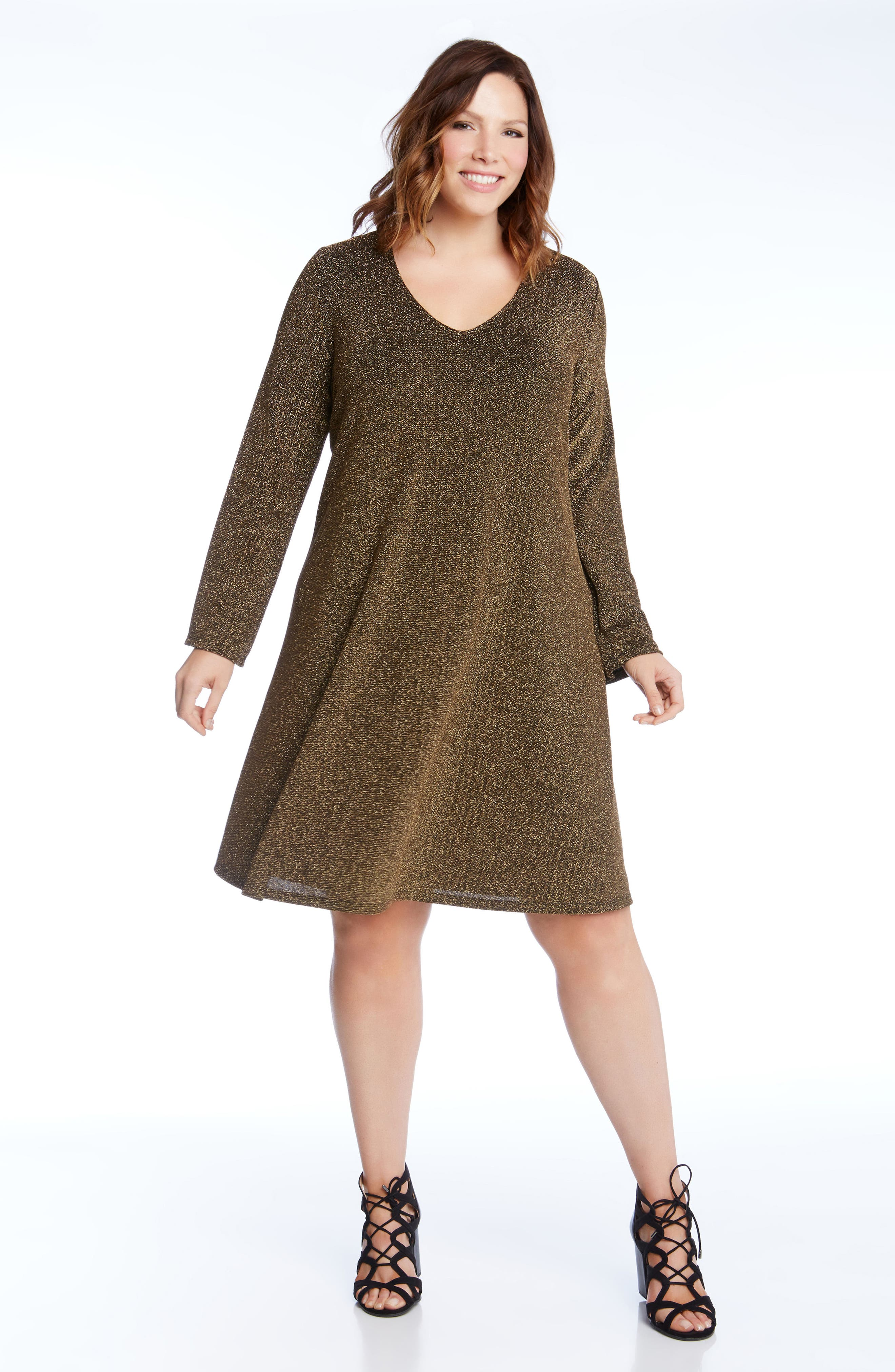Taylor Gold Knit Dress,                             Alternate thumbnail 3, color,                             710