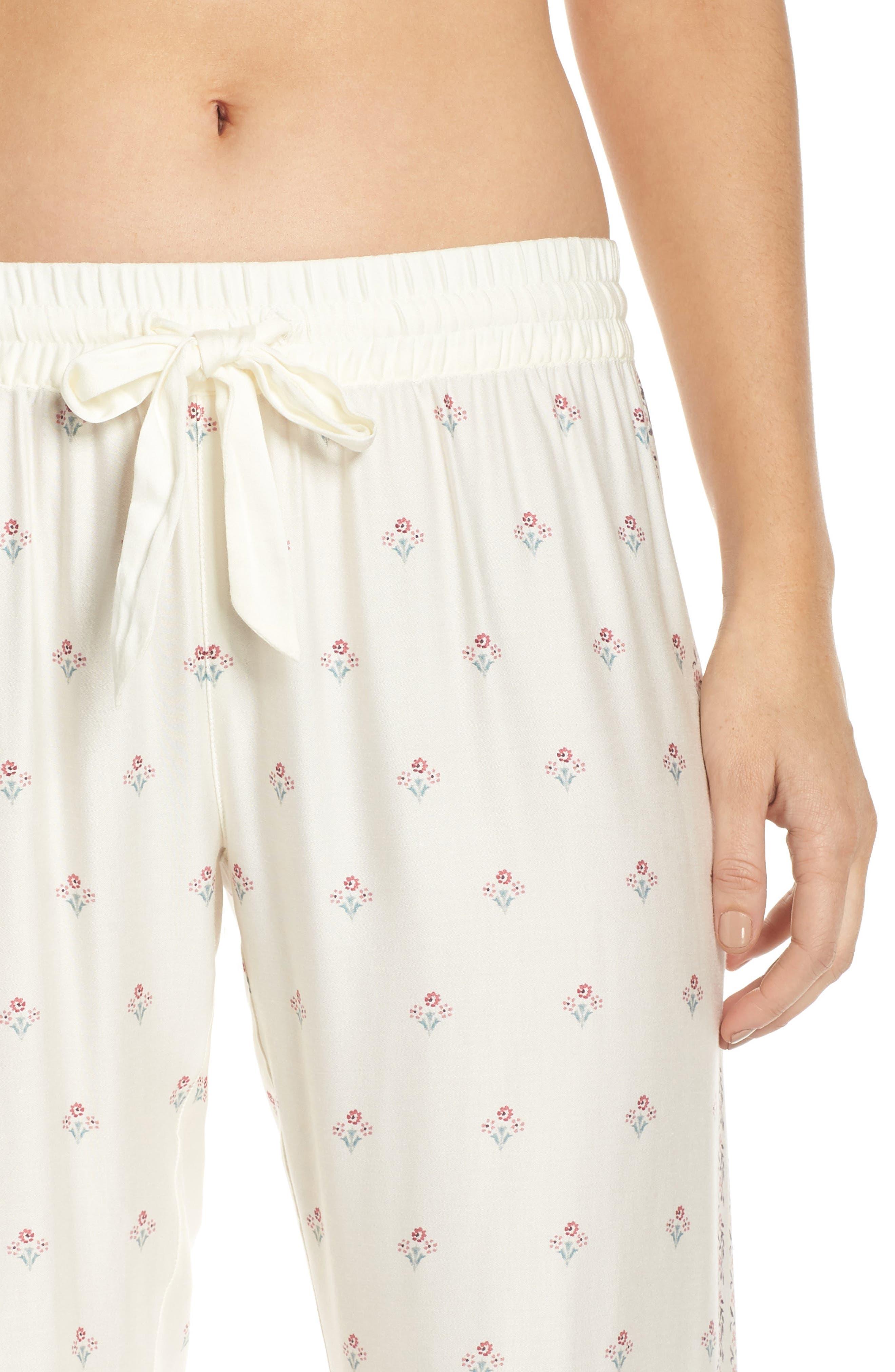 Paisley Park Pajama Pants,                             Alternate thumbnail 4, color,                             ANTIQUE WHITE