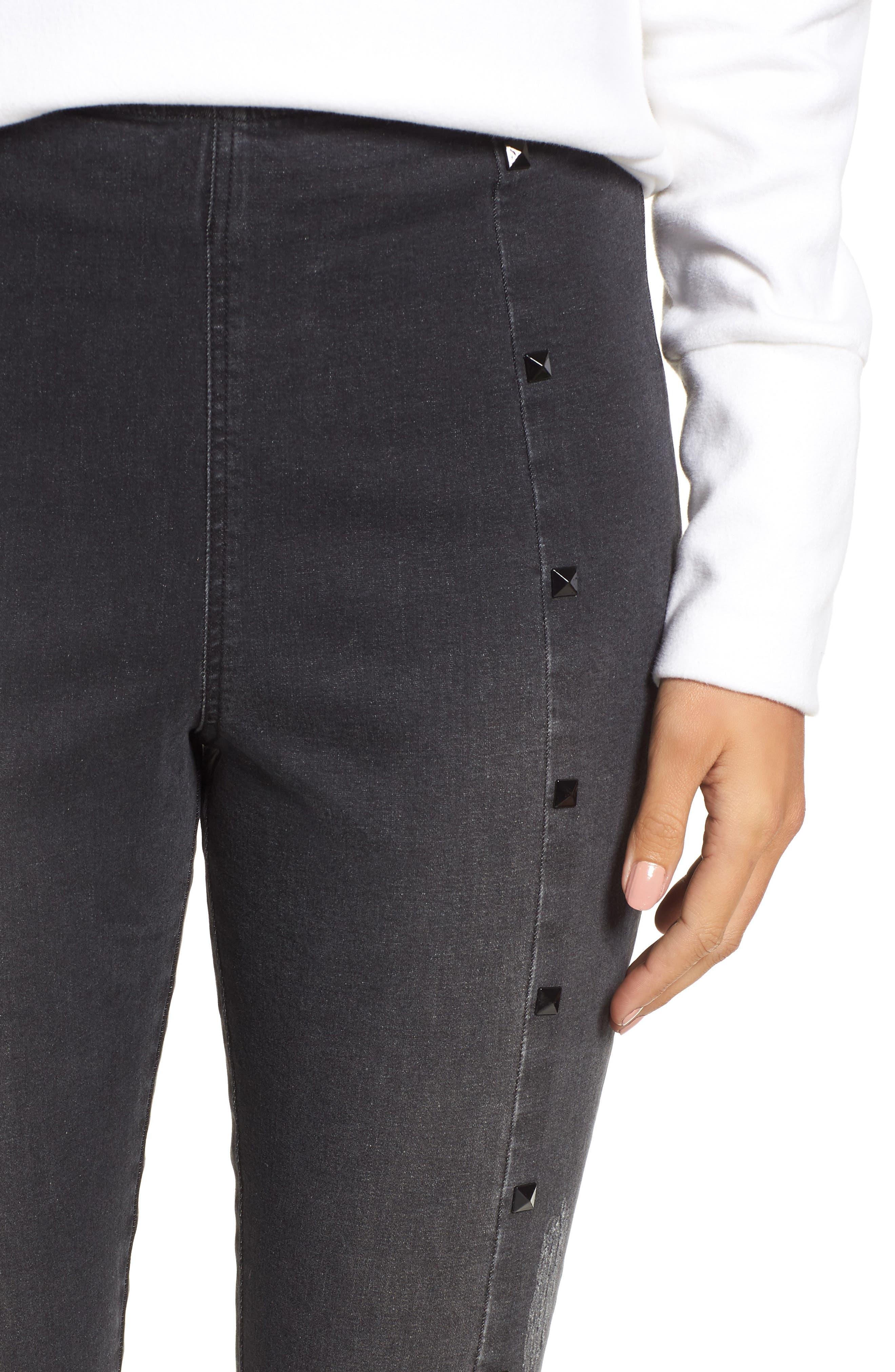 Studded High Waist Denim Leggings,                             Alternate thumbnail 4, color,                             DARK GREY WASH