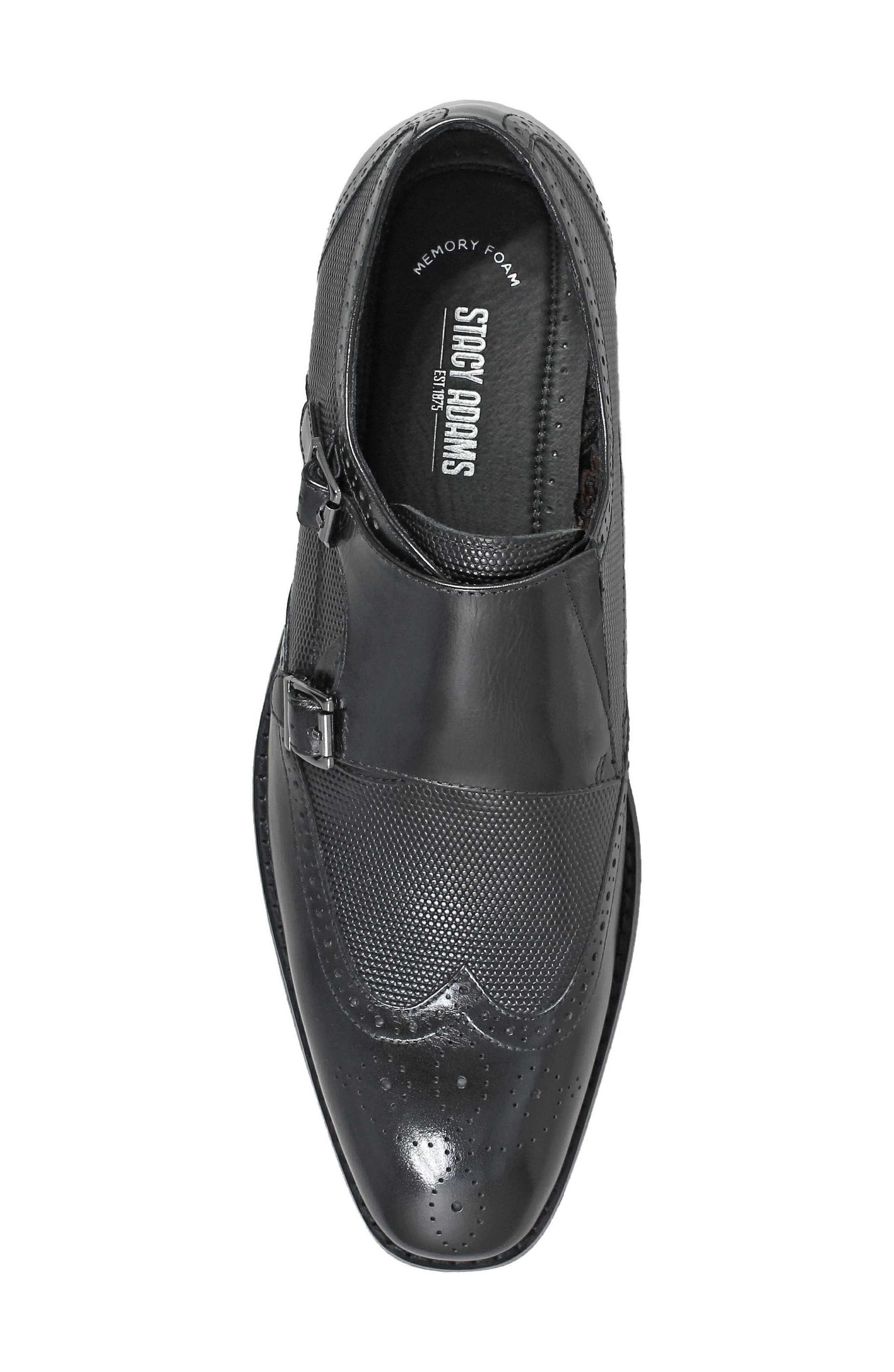 Lavine Wingtip Monk Shoe,                             Alternate thumbnail 5, color,                             BLACK LEATHER