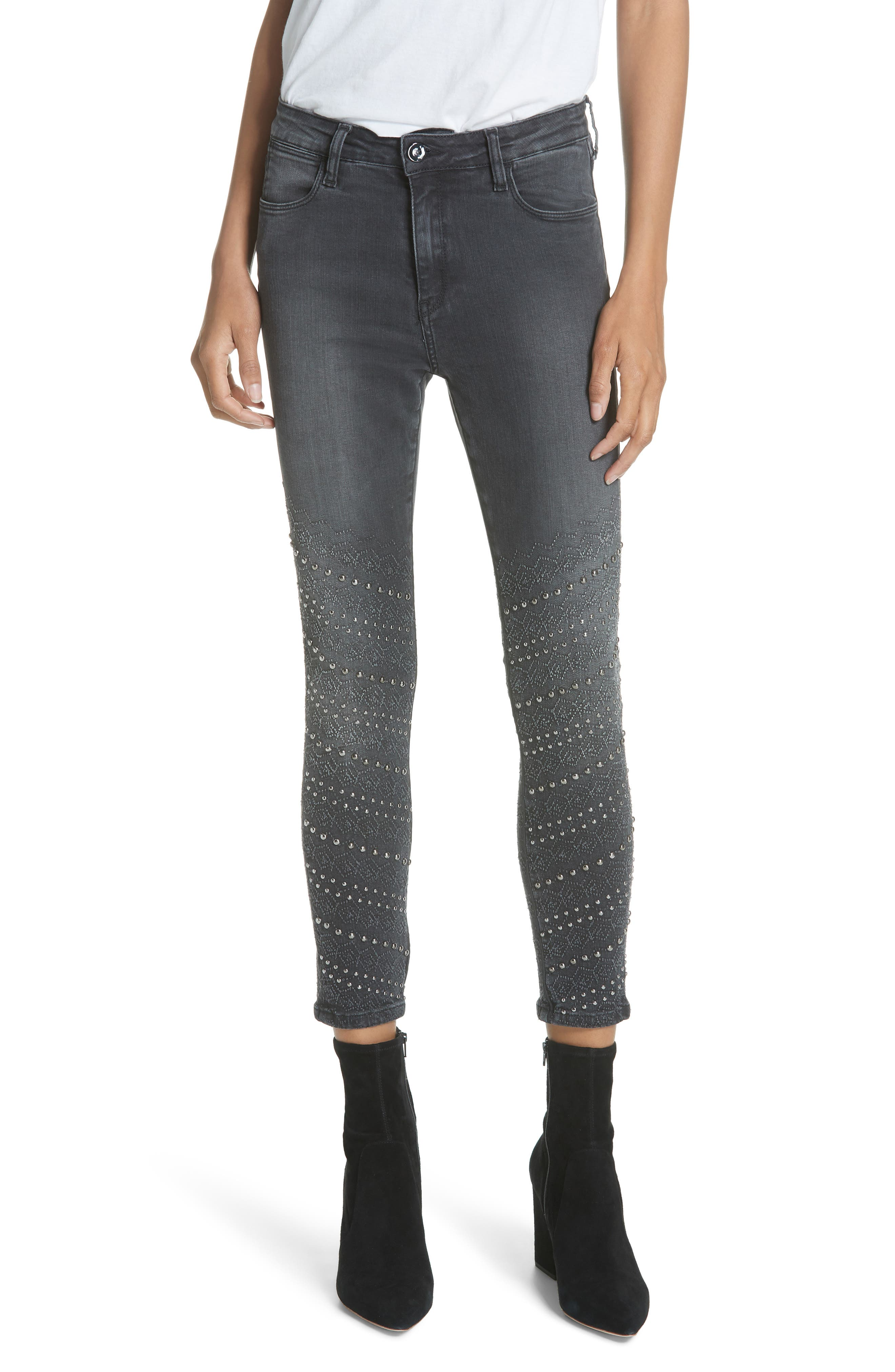 BROCKENBOW Andy Reina Embellished Skinny Jeans in Black Used