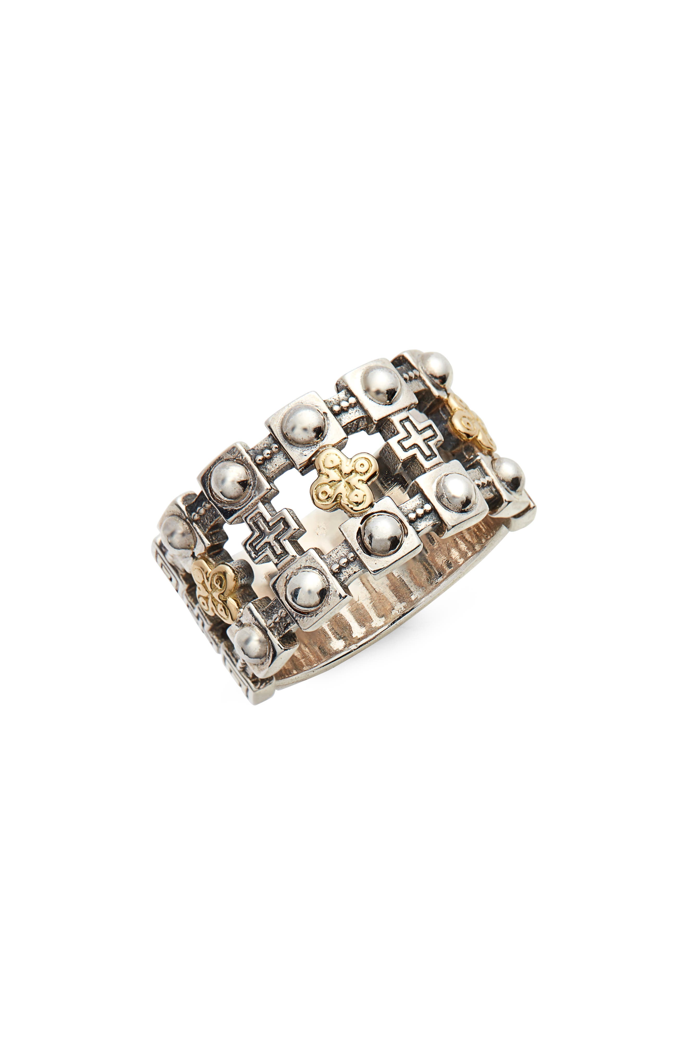 Stavros Openwork Ring,                         Main,                         color, SILVER/ GOLD