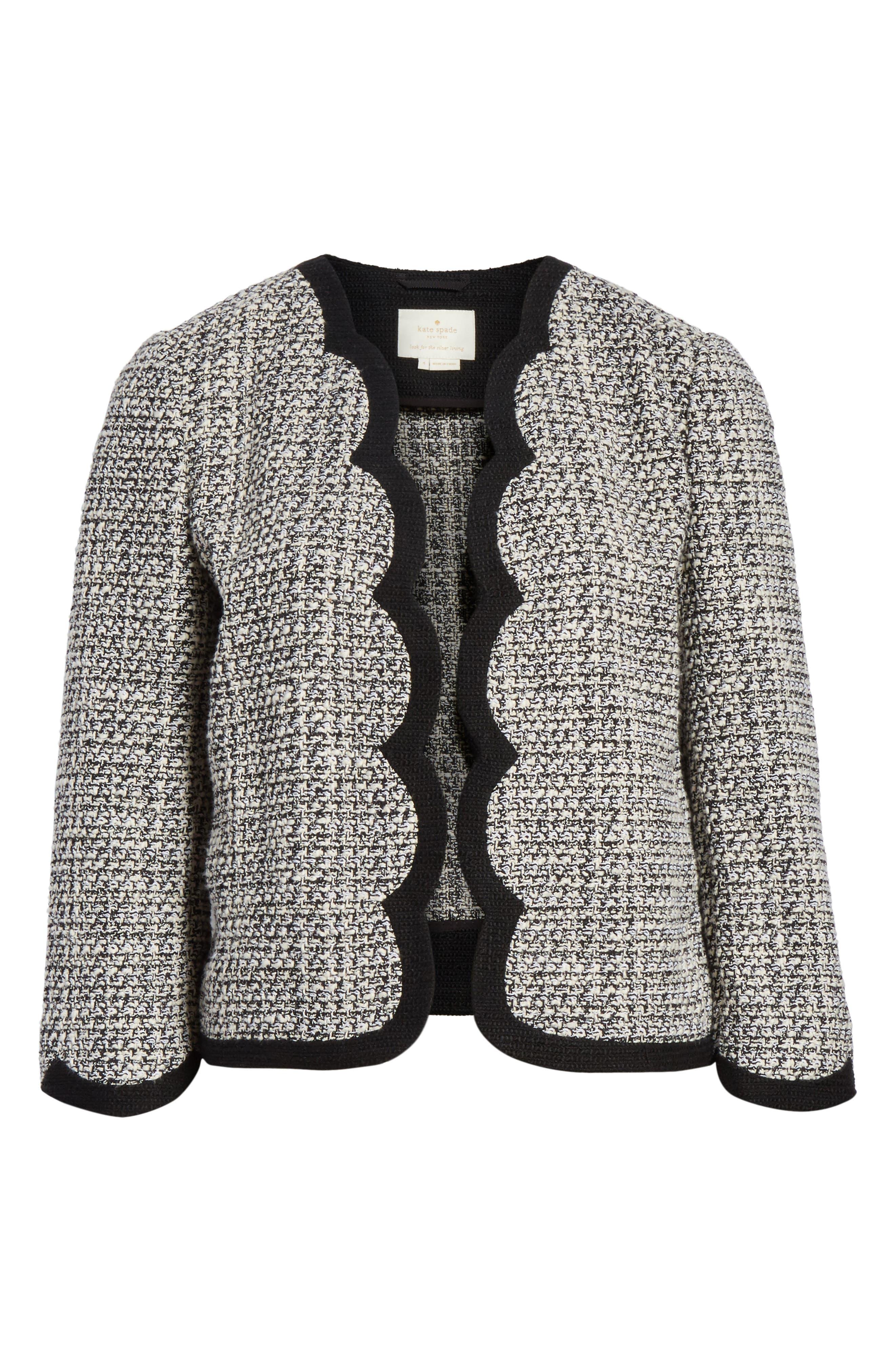 scallop tweed jacket,                             Alternate thumbnail 5, color,