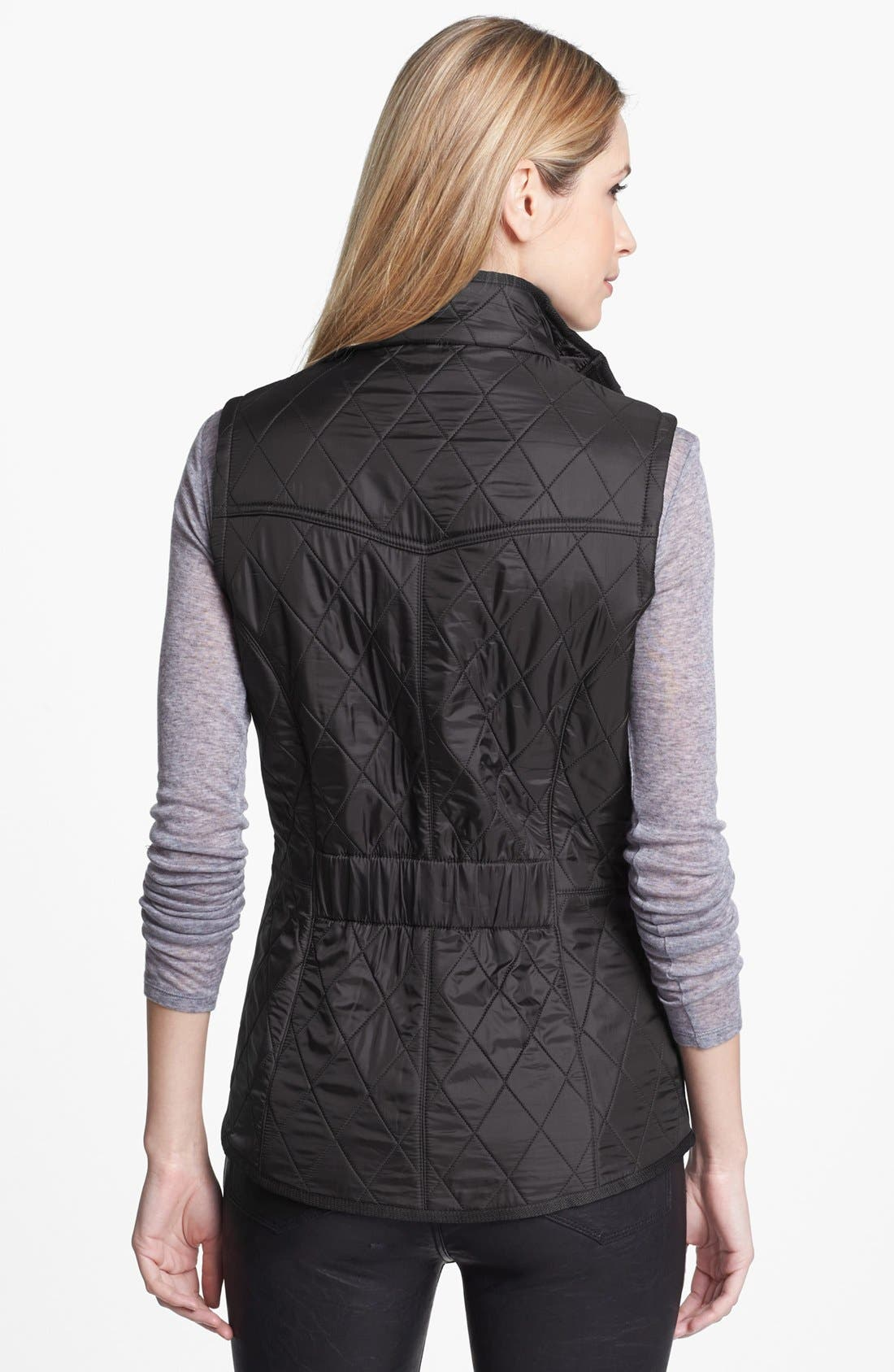 'Cavalry' Quilted Vest,                             Alternate thumbnail 9, color,                             BLACK/ BLACK