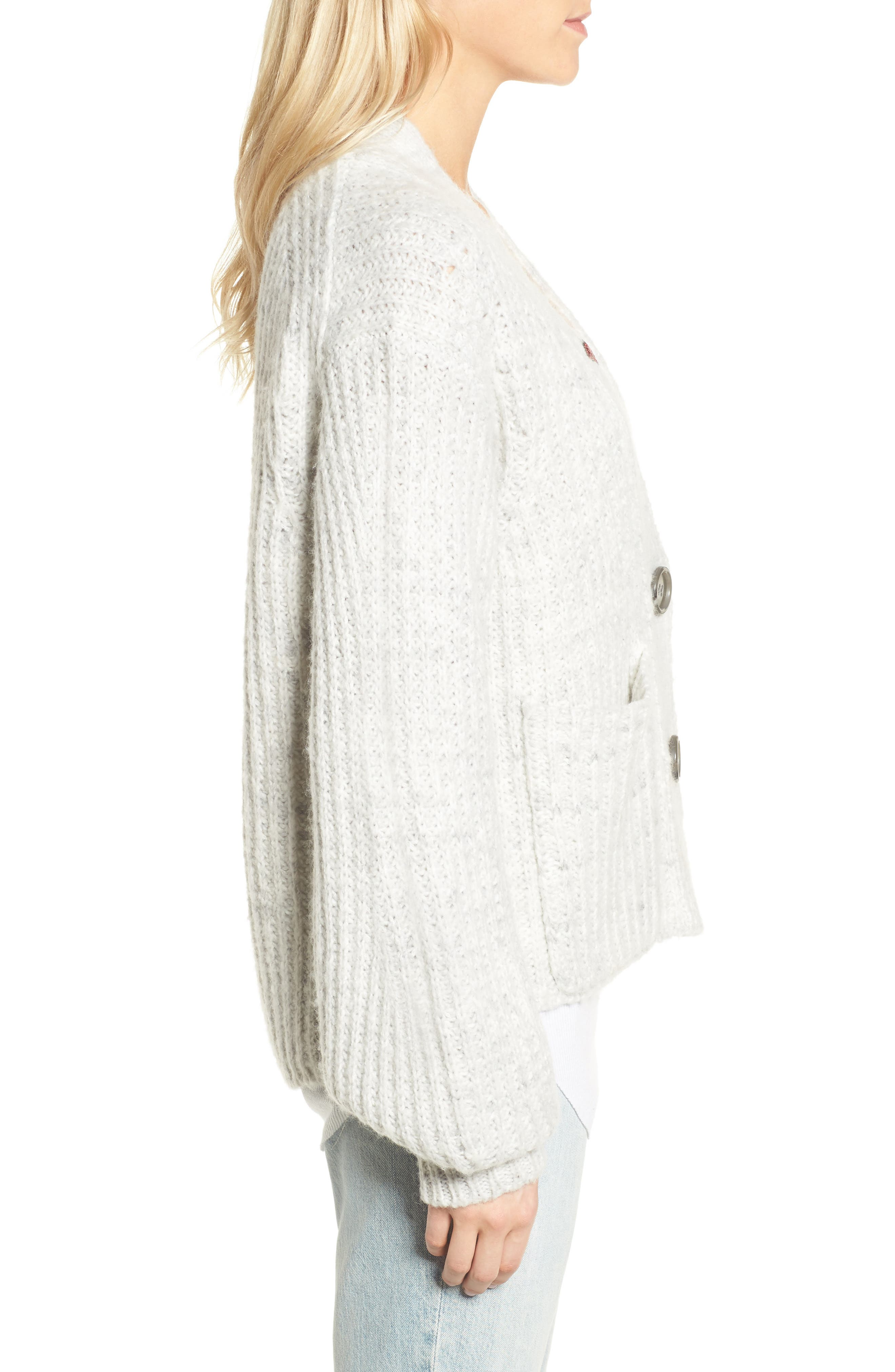 Oversize Cardigan,                             Alternate thumbnail 3, color,                             020