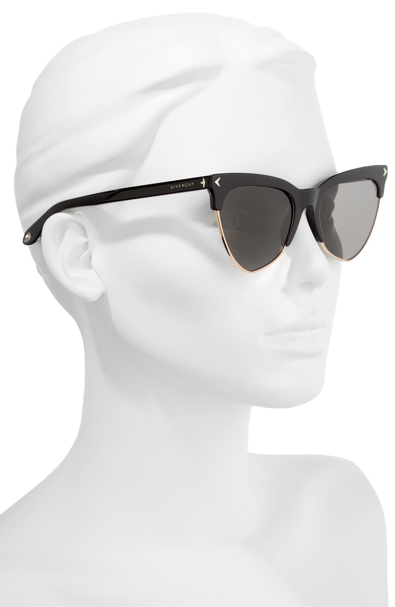 54mm Polarized Cat Eye Sunglasses,                             Alternate thumbnail 2, color,                             001