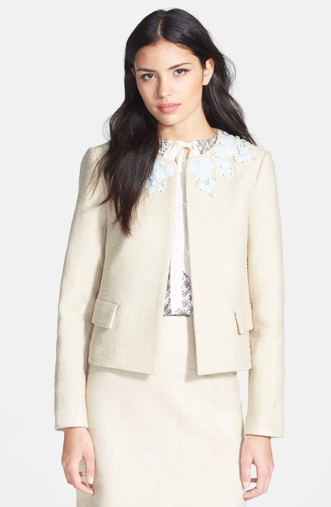TORY BURCH 'Elisa' Embellished Crop Jacket, Main, color, 250