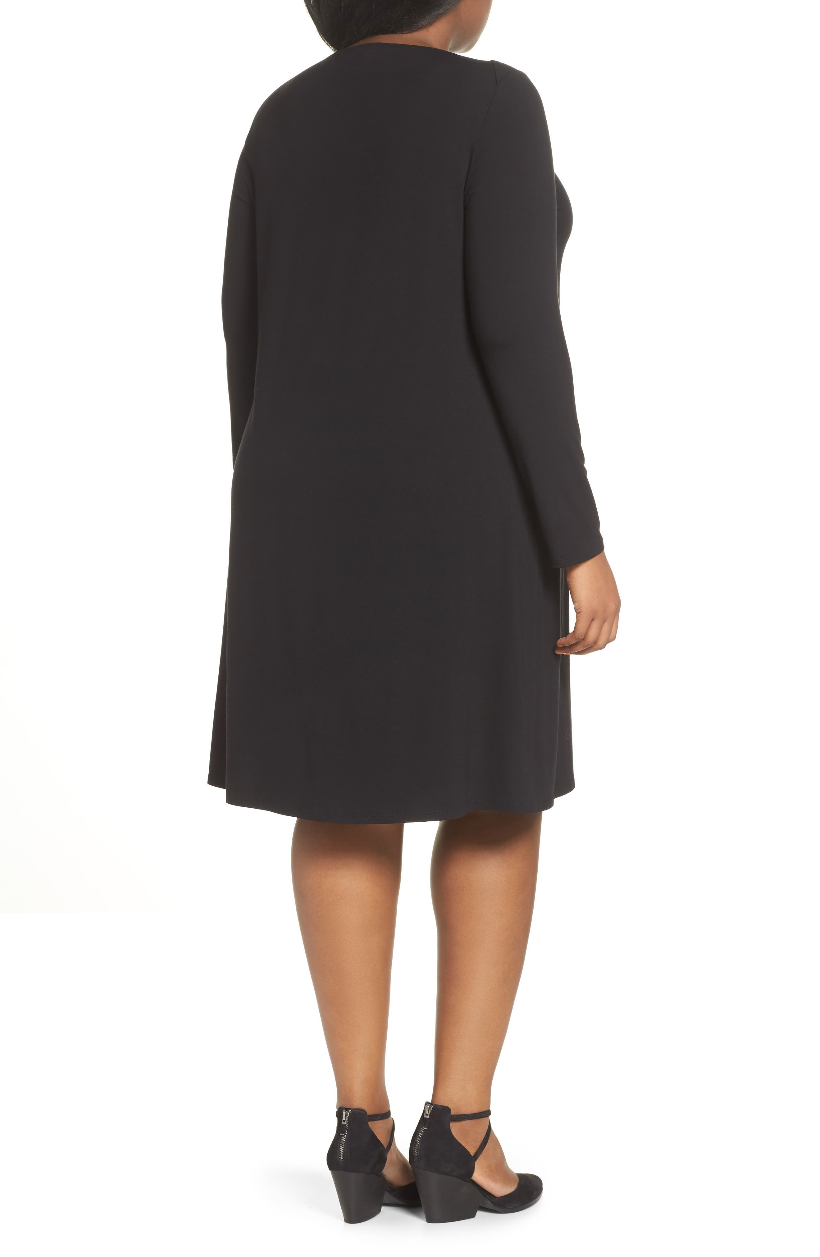 Bateau Neck Jersey Shift Dress,                             Alternate thumbnail 3, color,                             002