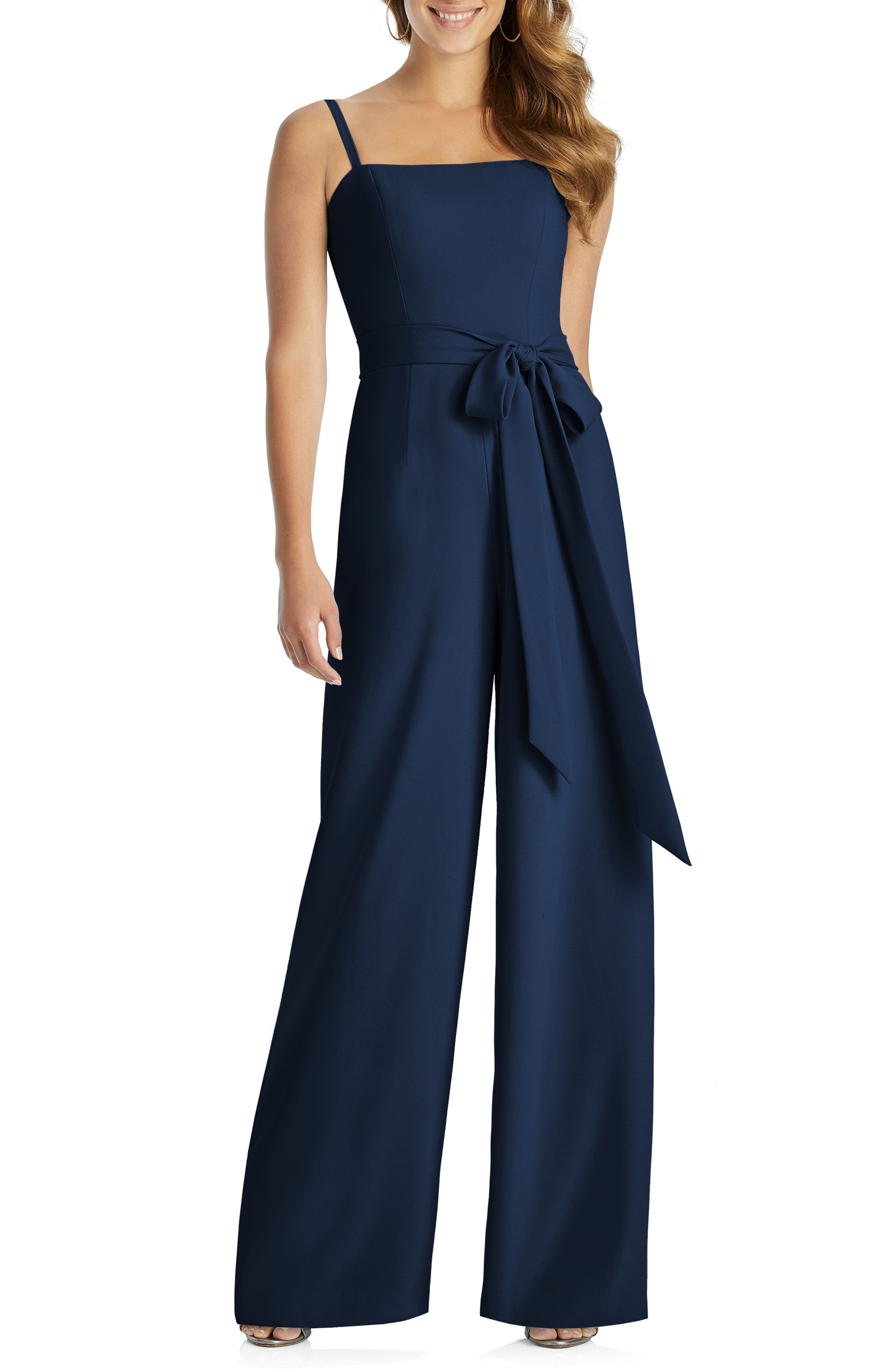 70s Prom, Formal, Evening, Party Dresses Womens Dessy Collection Alana Crepe Jumpsuit $263.00 AT vintagedancer.com