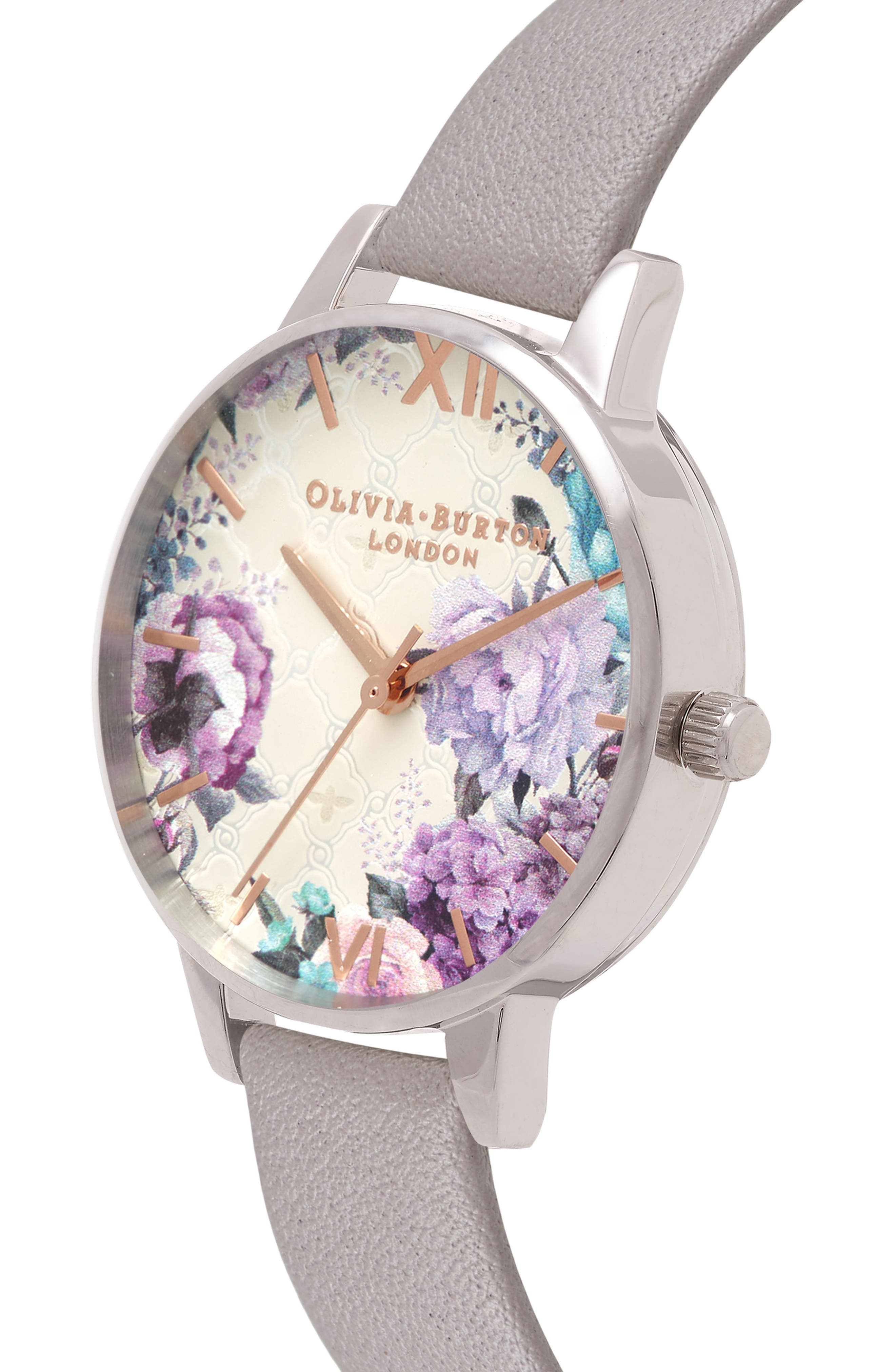 Glasshouse Leather Strap Watch, 30mm,                             Alternate thumbnail 3, color,                             GREY/ FLORAL/ SILVER