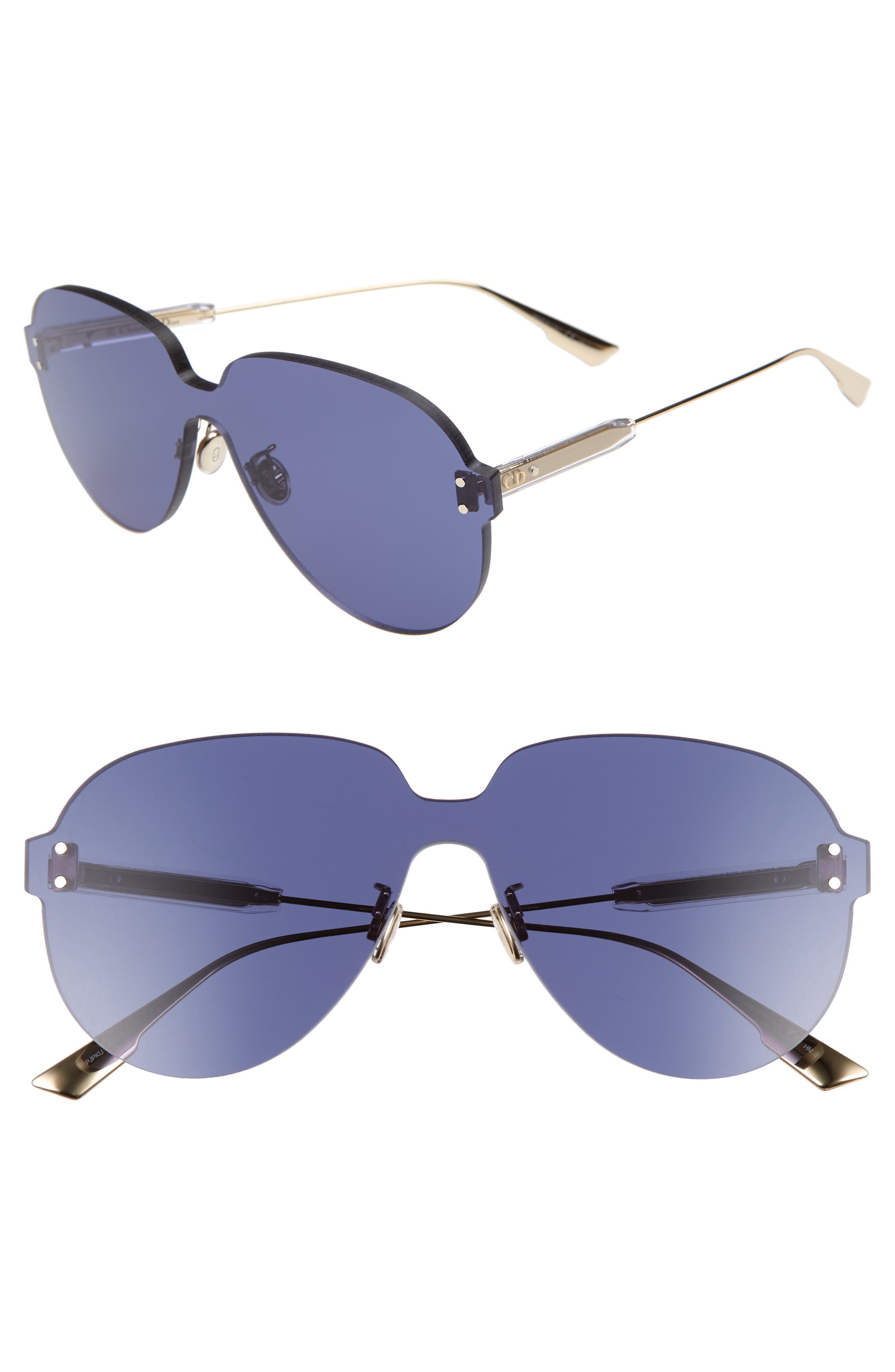 Christian Dior Quake3 14m Rimless Pilot Shield Sunglasses - Blue