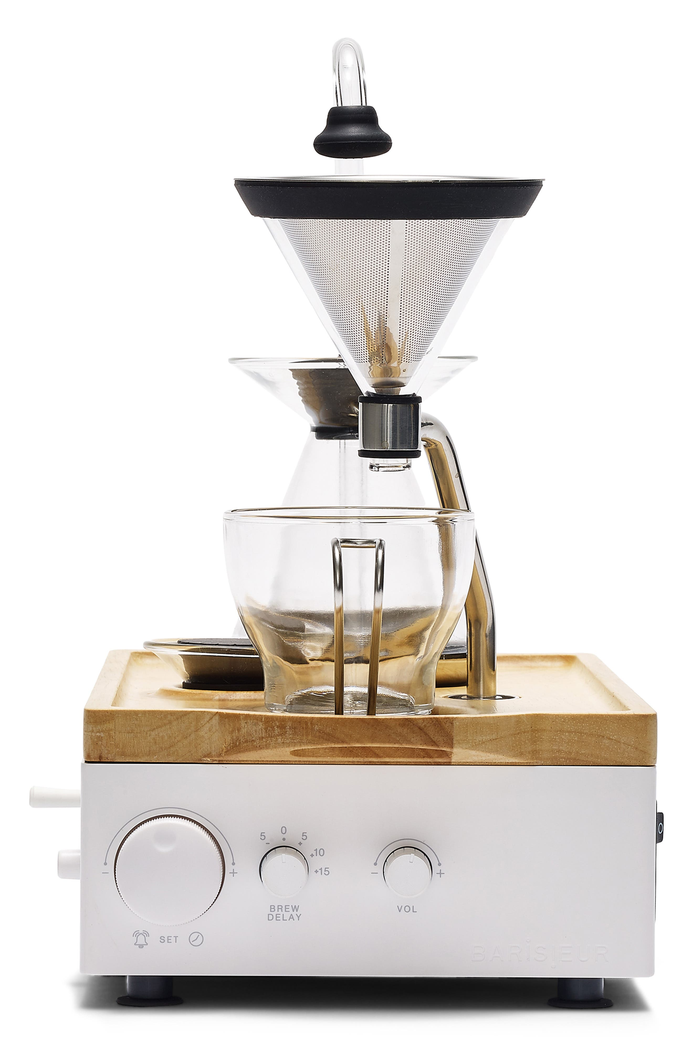 Soda Says x Barisieur Coffee & Tea Alarm Clock,                             Alternate thumbnail 3, color,                             WHITE/ RUBBERWOOD