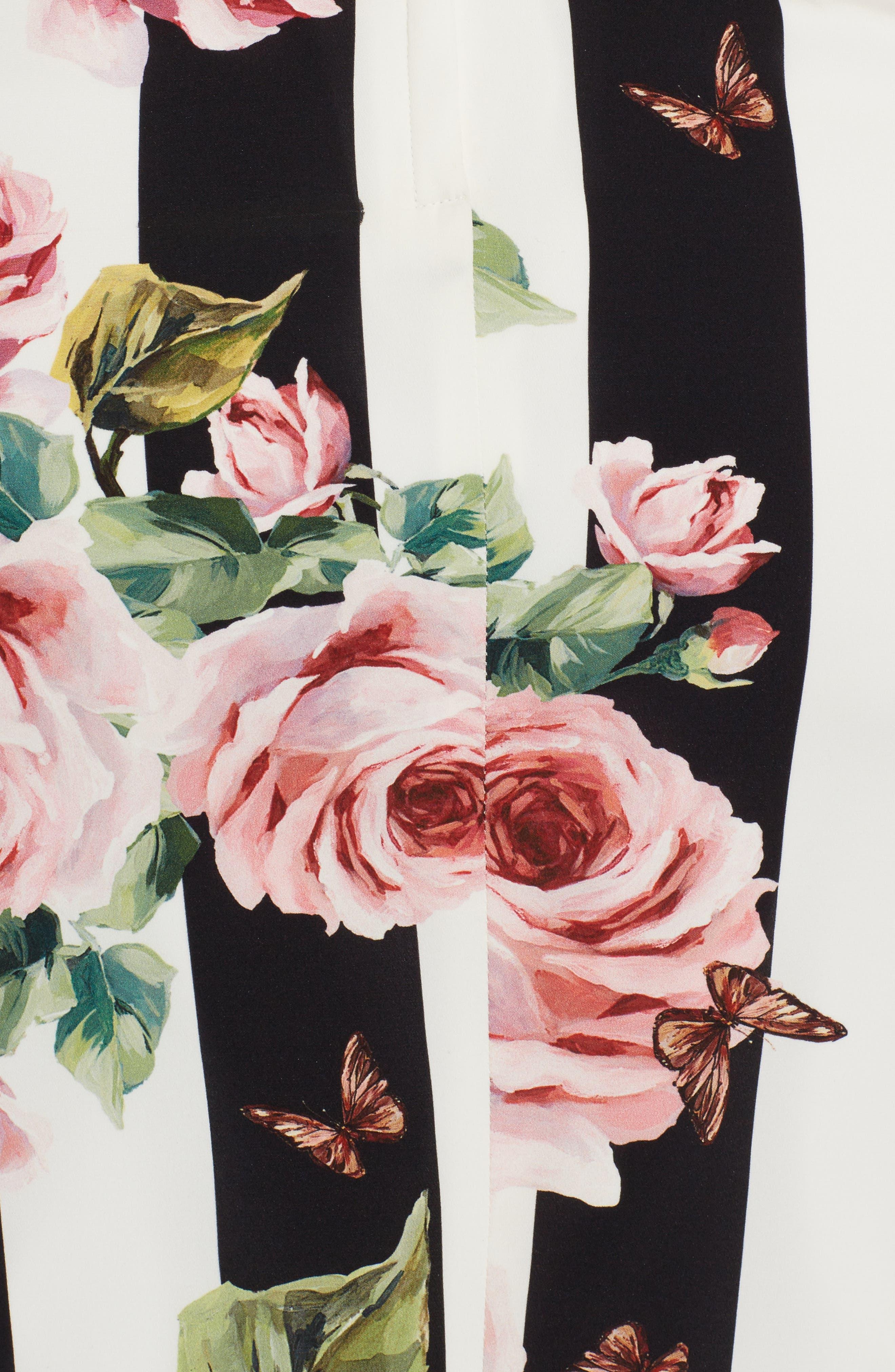 Stripe Rose Print Stretch Silk Dress,                             Alternate thumbnail 5, color,                             115
