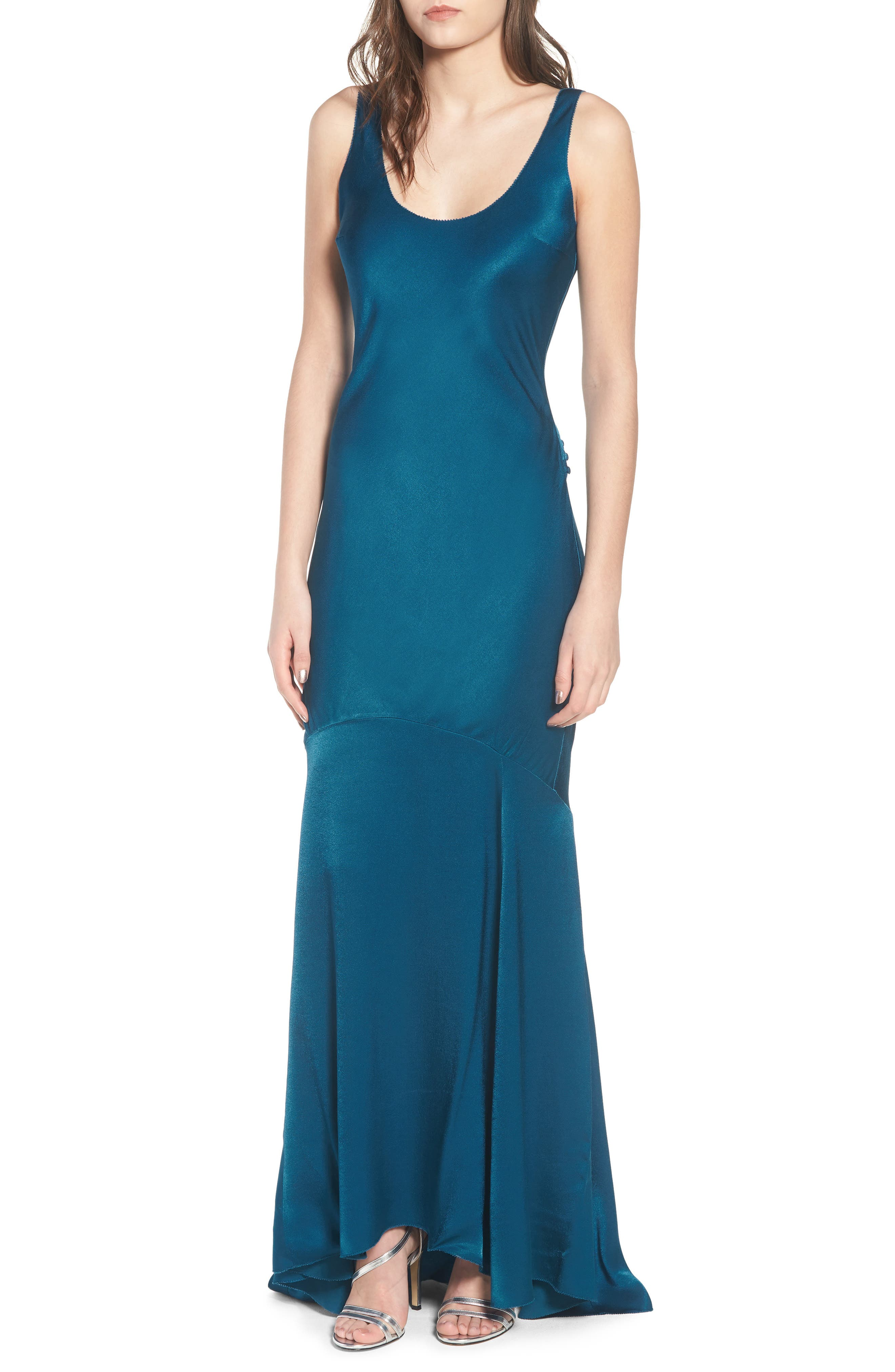 Satin Fishtail Gown,                             Main thumbnail 2, color,