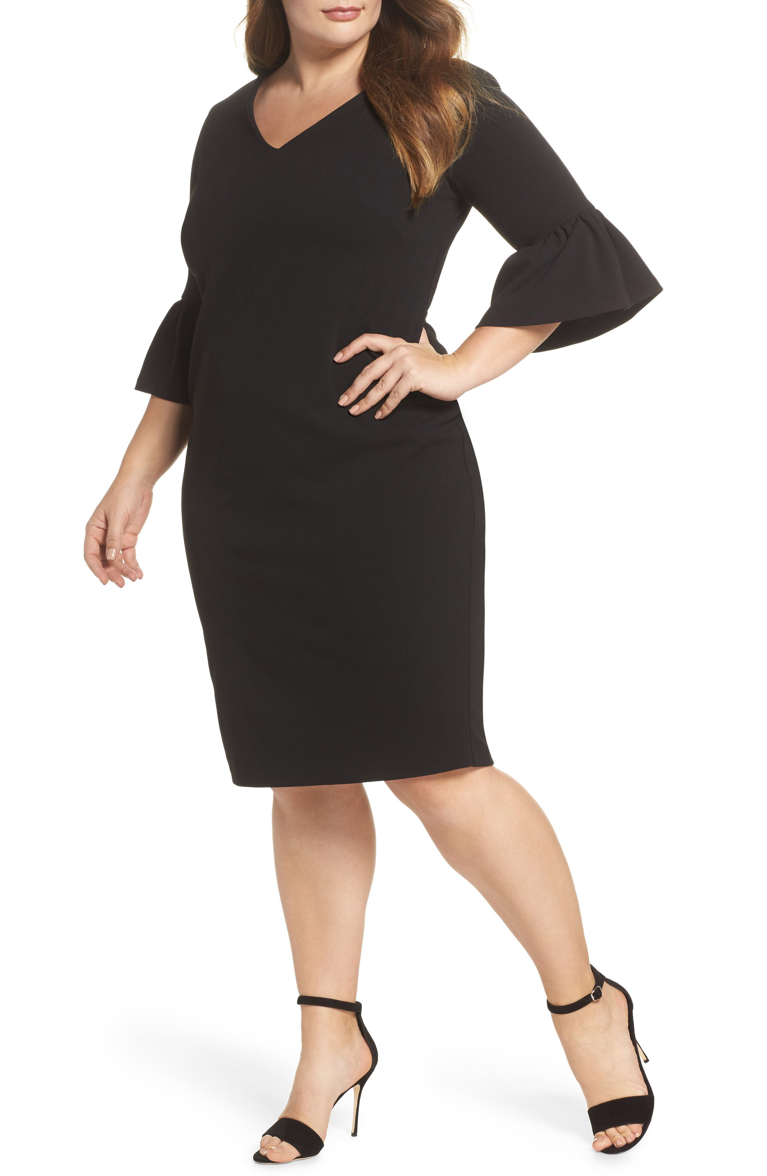 Ruffle Sleeve Sheath Dress,                             Main thumbnail 1, color,                             001