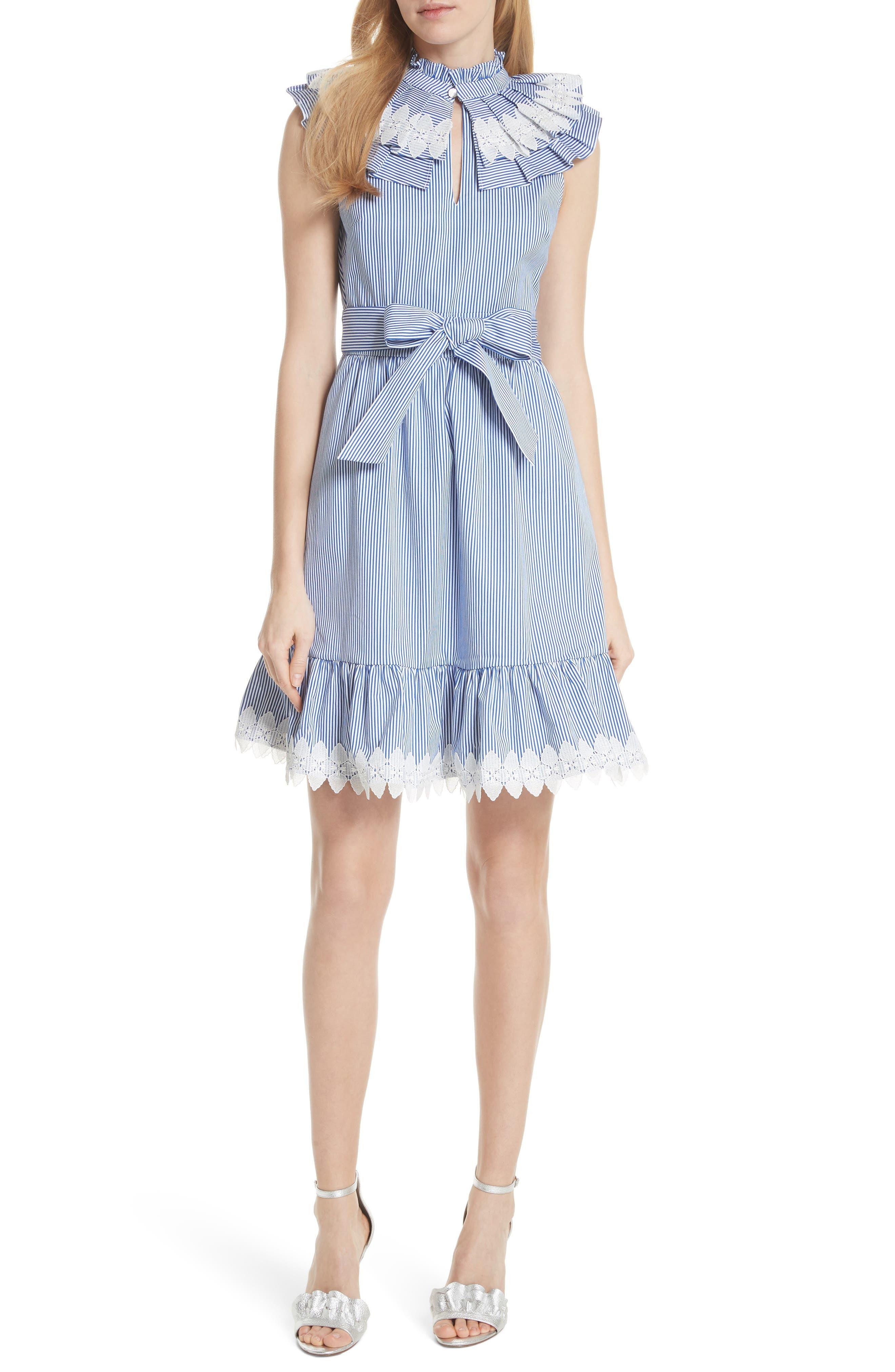 Stripe Frill Bib Fit & Flare Dress,                             Main thumbnail 1, color,                             110