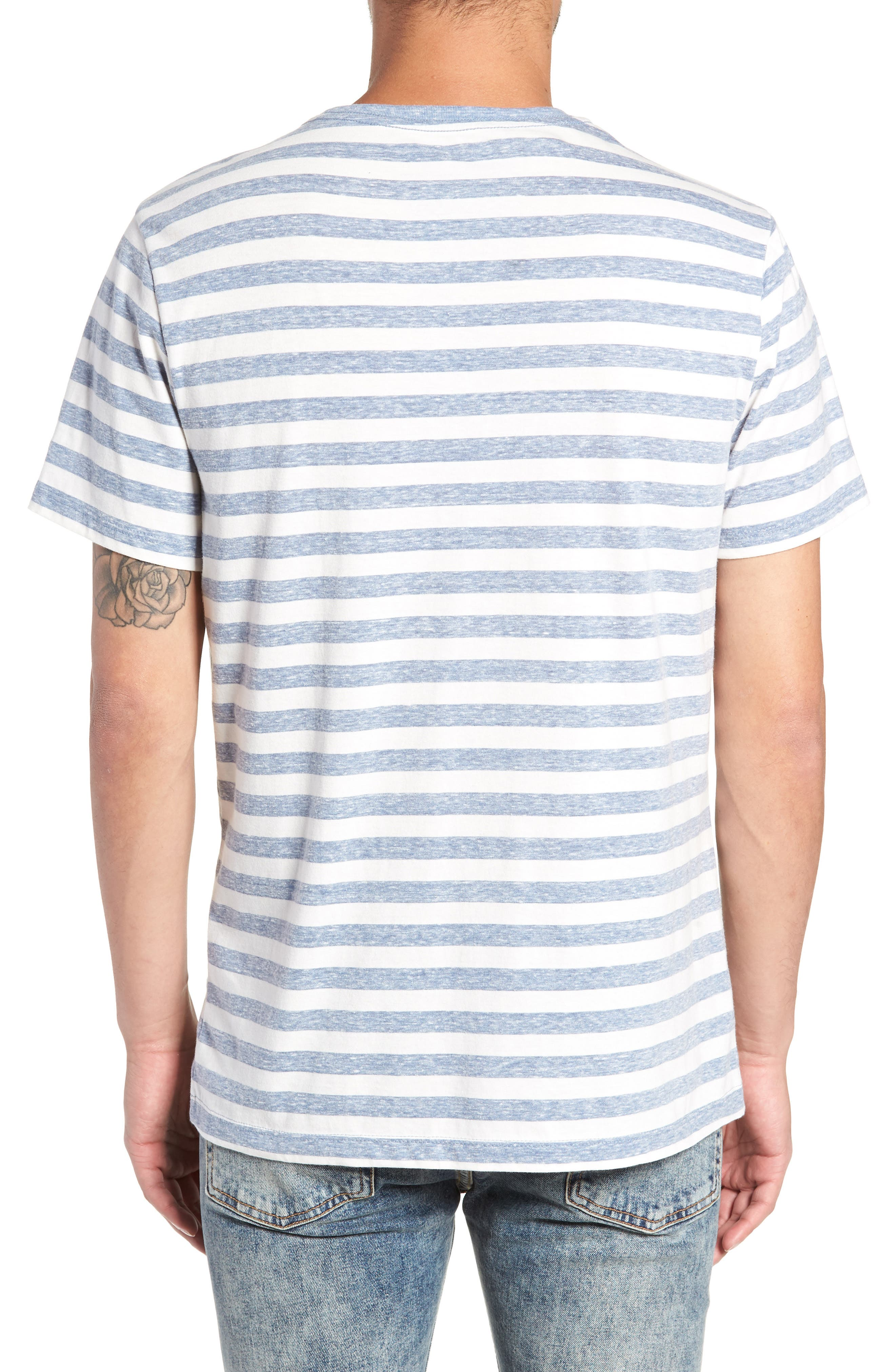 Stripe Crewneck T-Shirt,                             Alternate thumbnail 2, color,                             BLUE CHAMBRAY- WHITE STRIPE