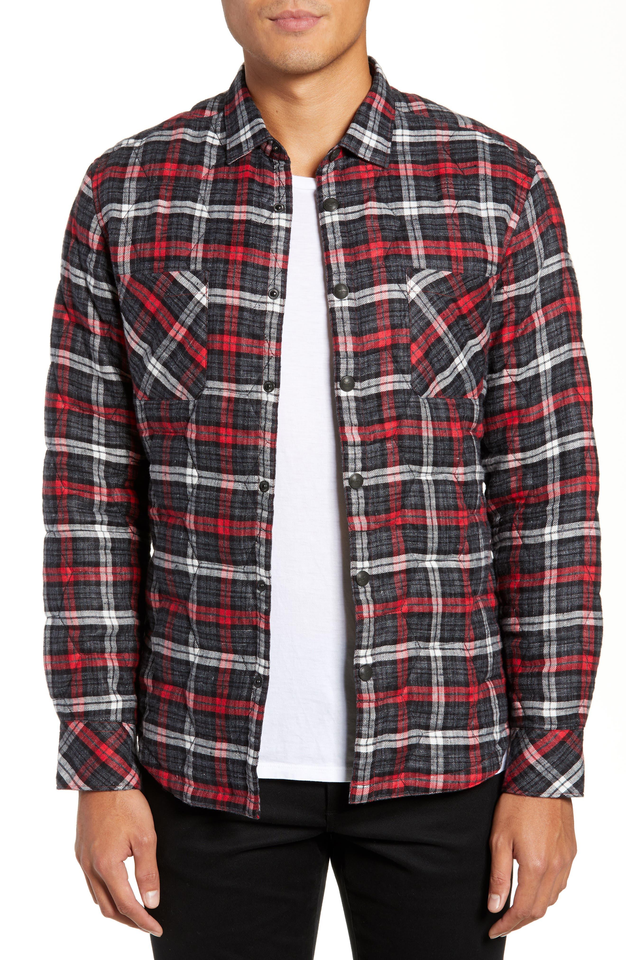 Slim Fit Linen Plaid Shirt Jacket,                         Main,                         color, CHARCOAL
