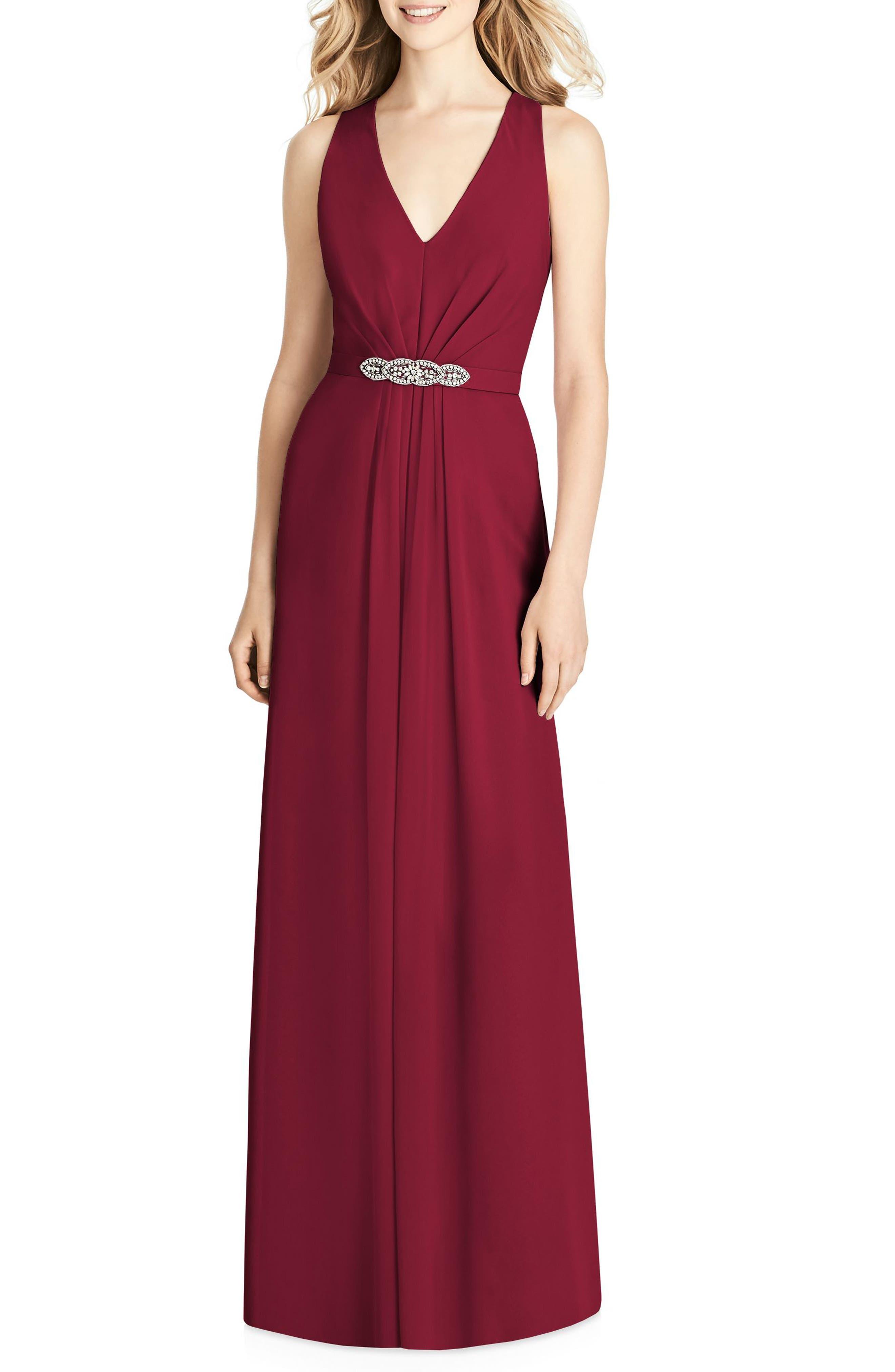 Jenny Packham Jewel Belt Chiffon Gown, Burgundy