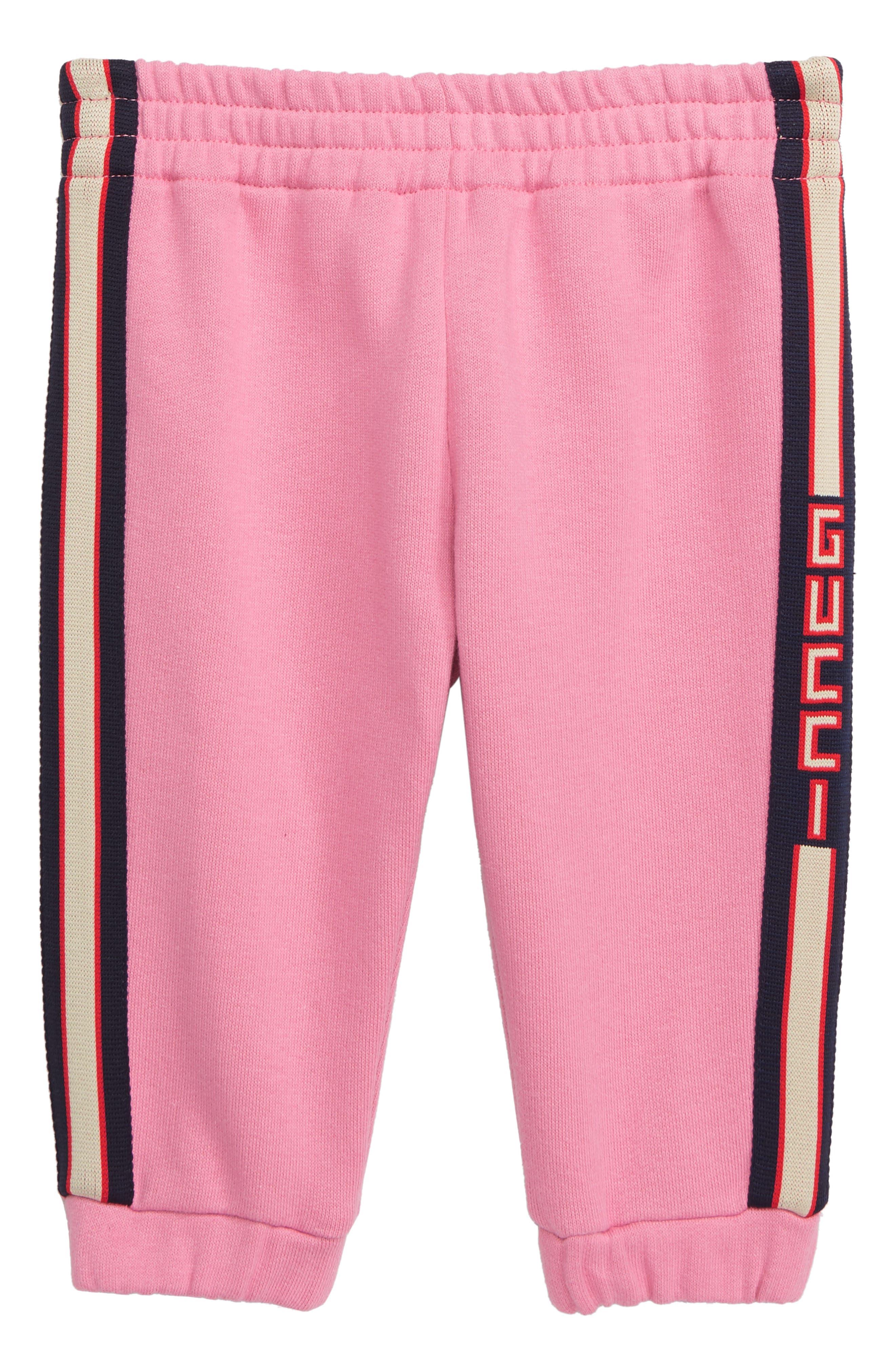 GUCCI,                             Stripe Jogging Pants,                             Main thumbnail 1, color,                             PINK LADY/ BLUE/ RED