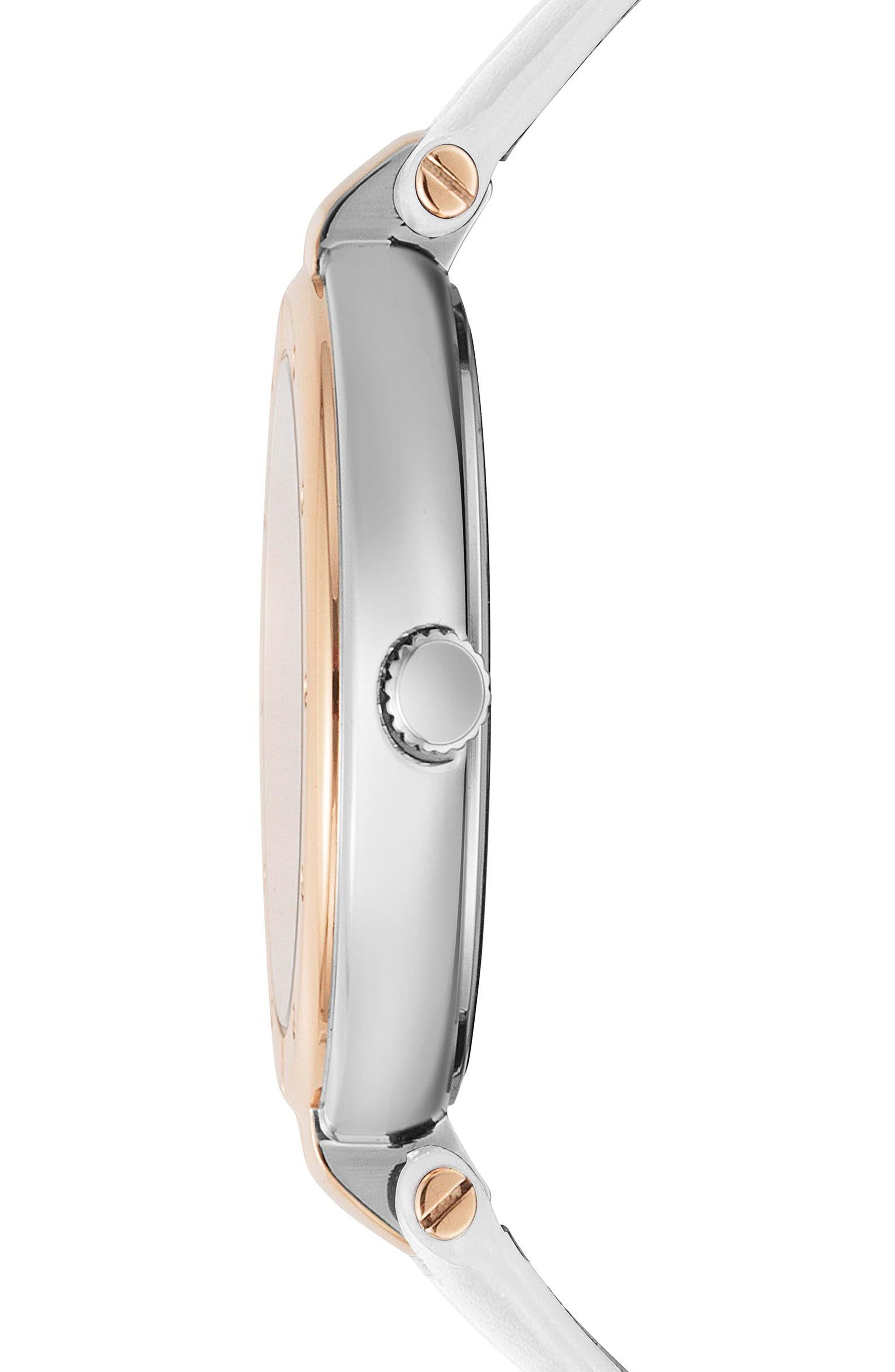 Bellville Leather Strap Watch, 38mm,                             Alternate thumbnail 2, color,                             WHITE/ ROSE GOLD