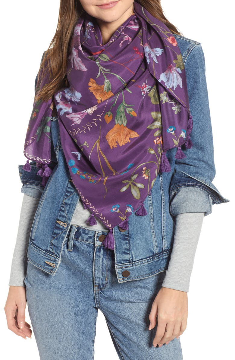 Floral Print Tassel Silk Scarf, Main, color, PURPLE FLORAL CIRCLET