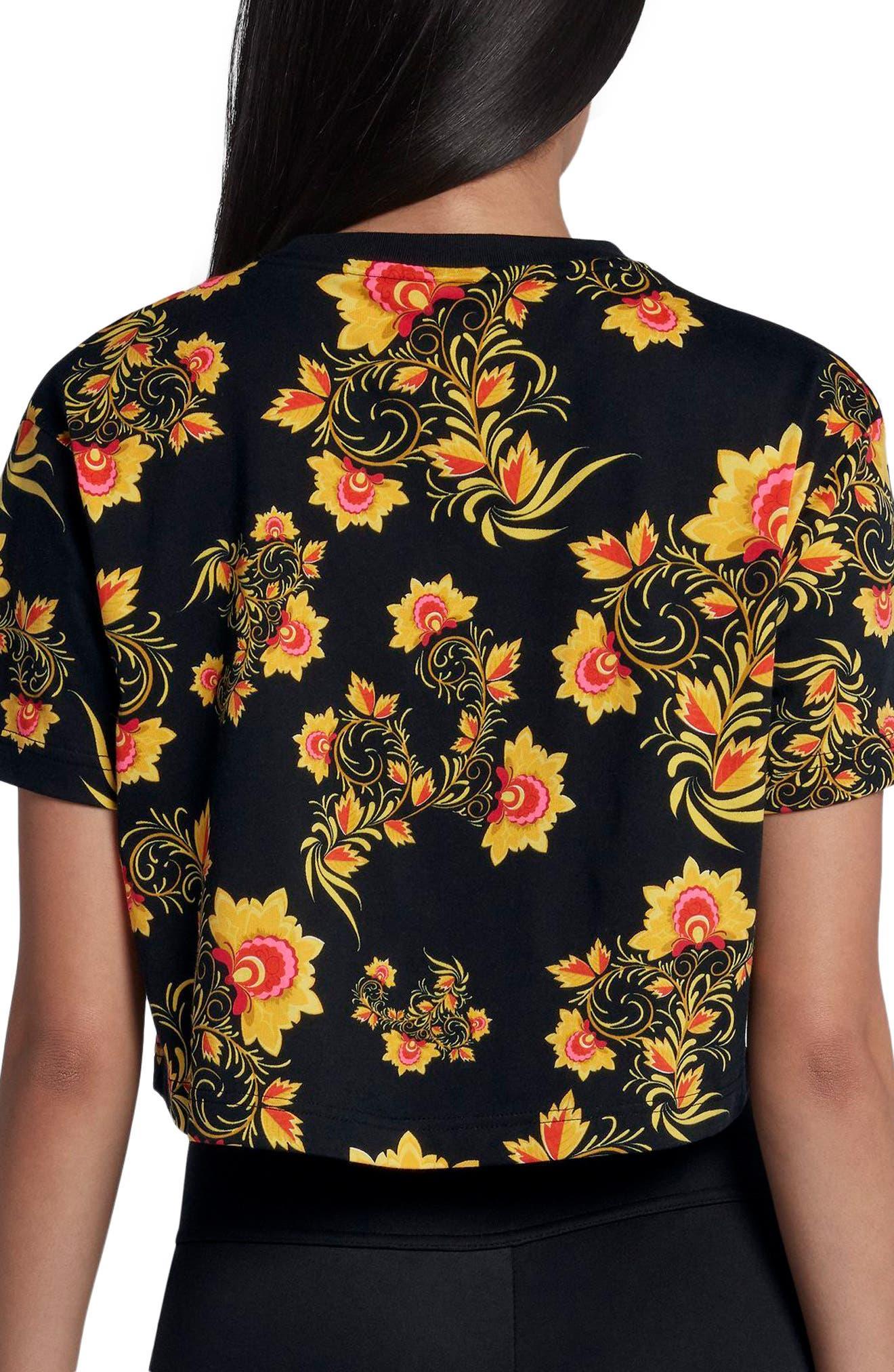 Sportswear Russian Floral Print Crop Tee,                             Alternate thumbnail 2, color,                             010